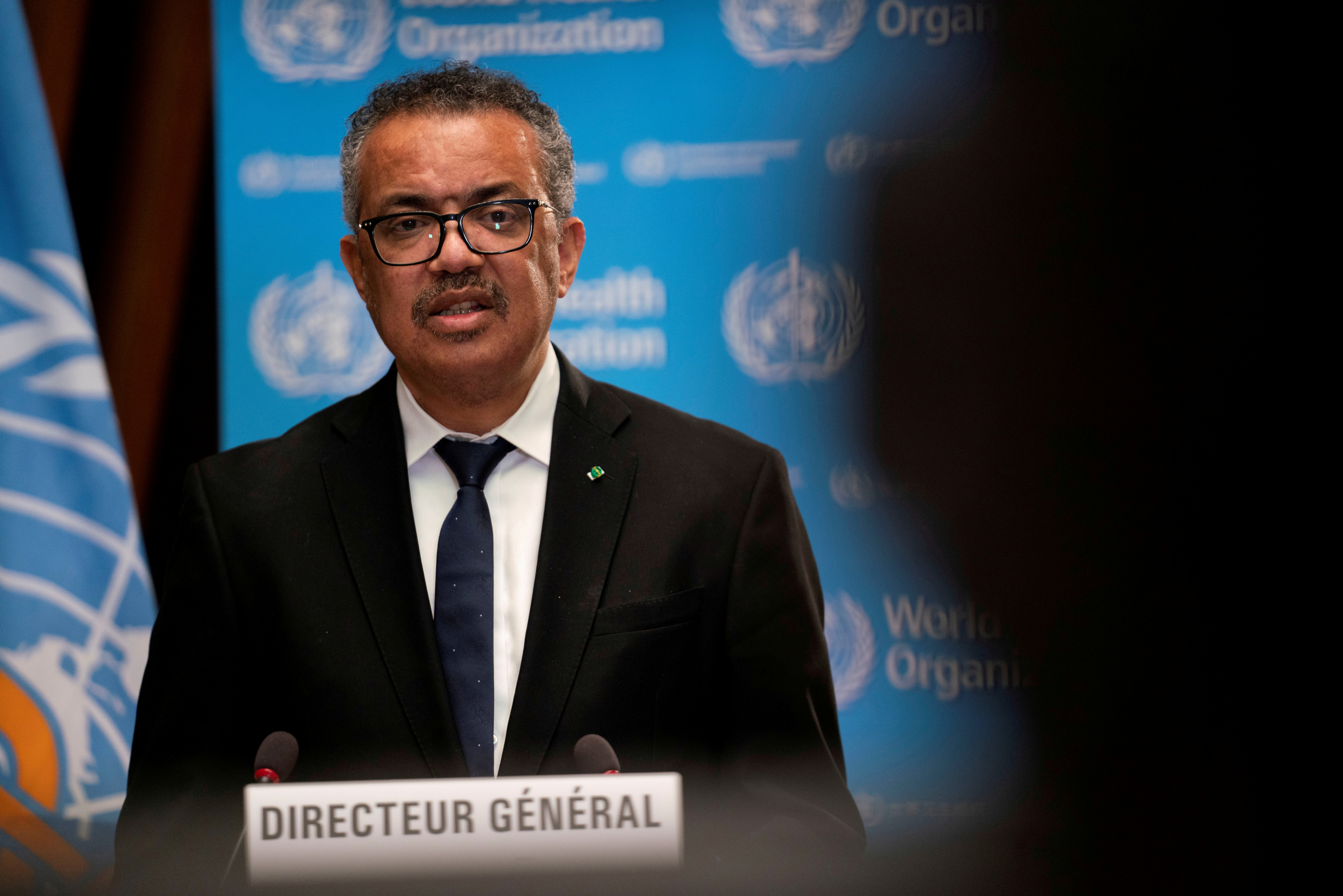 Tedros Adhanom Ghebreyesus, Director General of the World Health Organization (WHO) speaks during the opening of the 148th session of the Executive Board on the coronavirus disease (COVID-19) outbreak in Geneva, Switzerland, January 18, 2021.  Christopher Black/WHO/Handout/File Photo