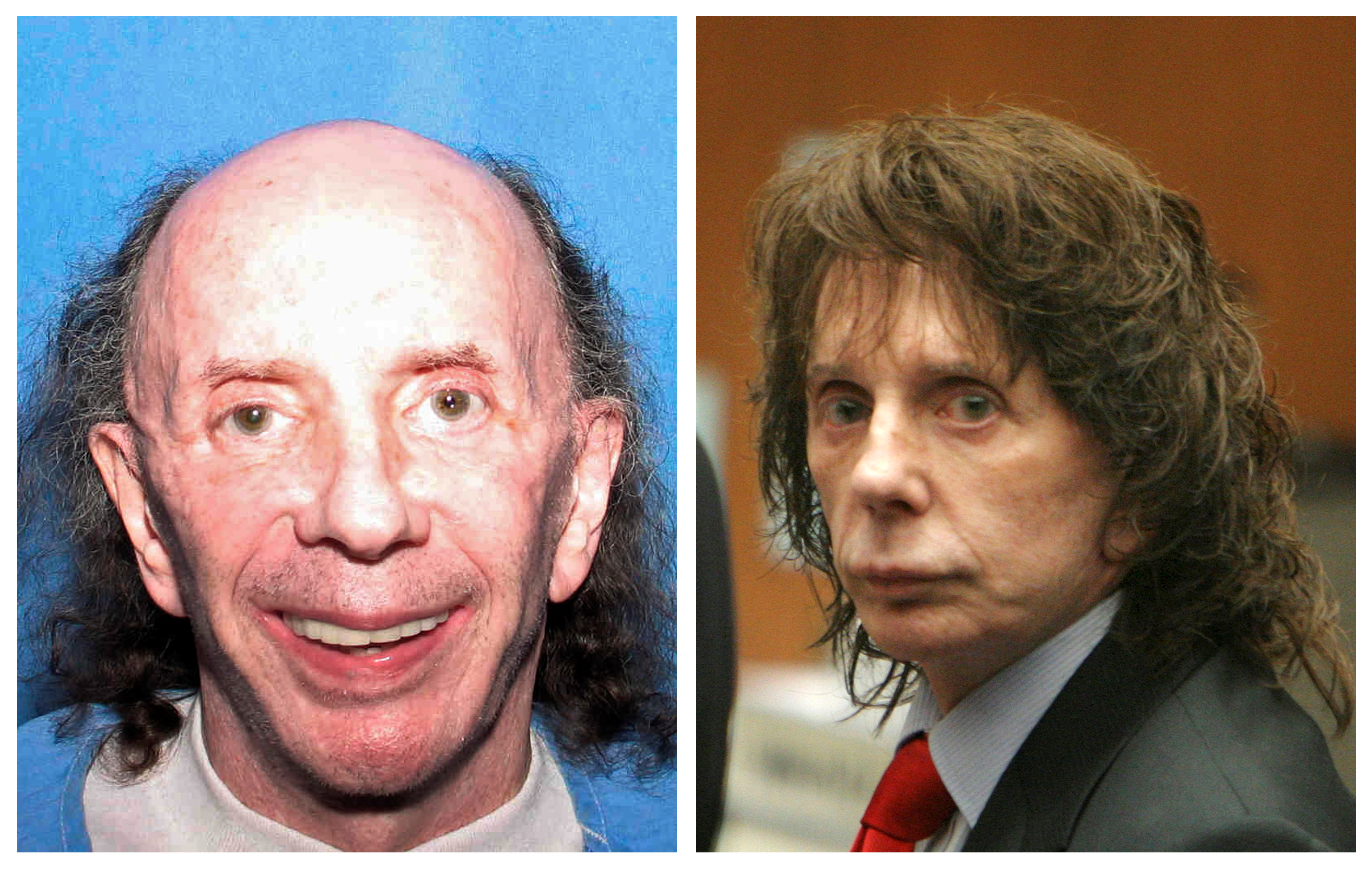A combination photo shows music legend Phil Spector (L) in a handout released by the California Department of Corrections and Rehabilitation in Corcoran, California July 24, 2013 and Spector (R), in court after he was convicted of second-degree murder in Los Angeles, California April 13, 2009.  REUTERS/Files/File Photo
