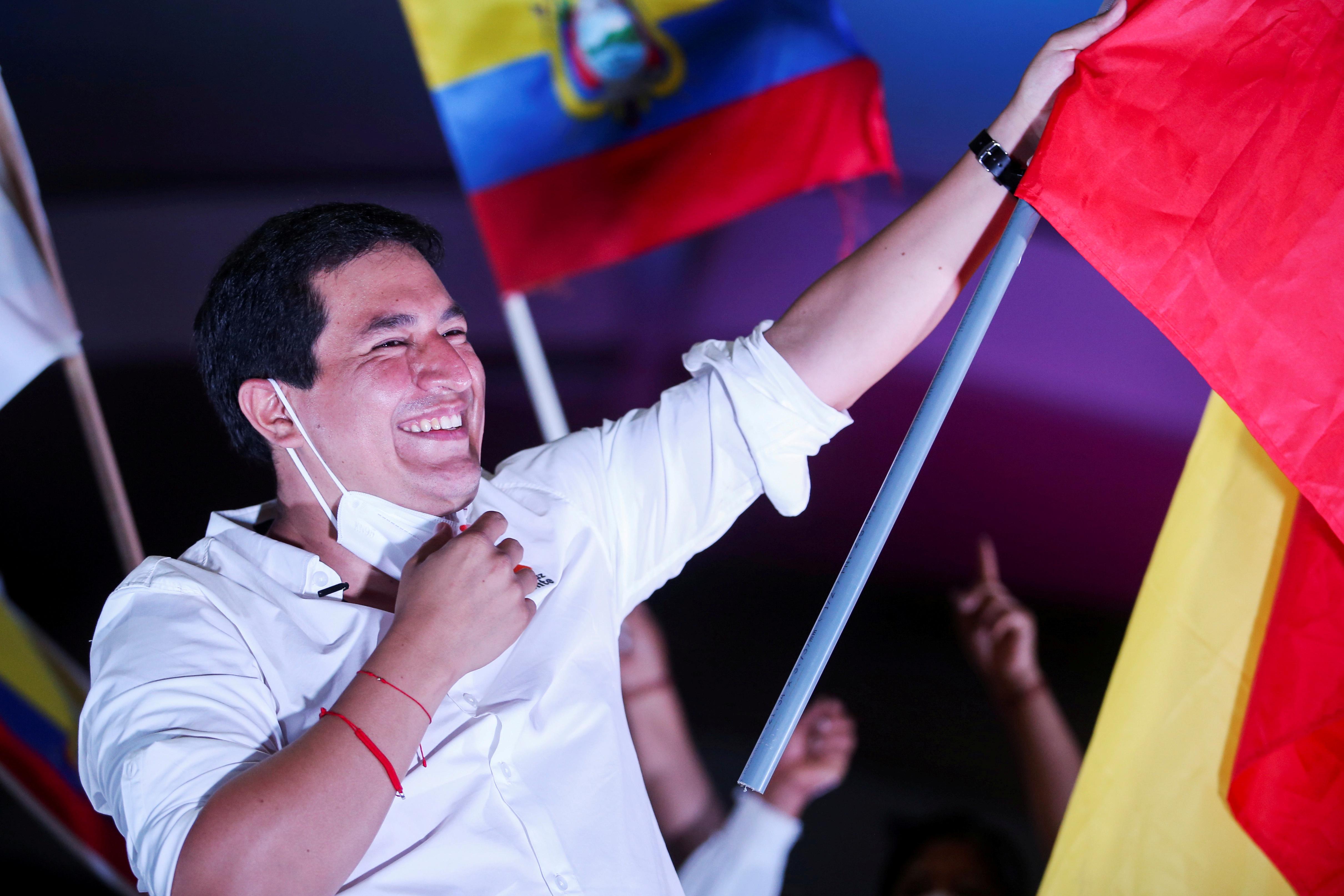 Ecuador's presidential candidate Andres Arauz attends a closing campaign rally in Quito, Ecuador April 8, 2021. REUTERS/Luisa Gonzalez/File Photo