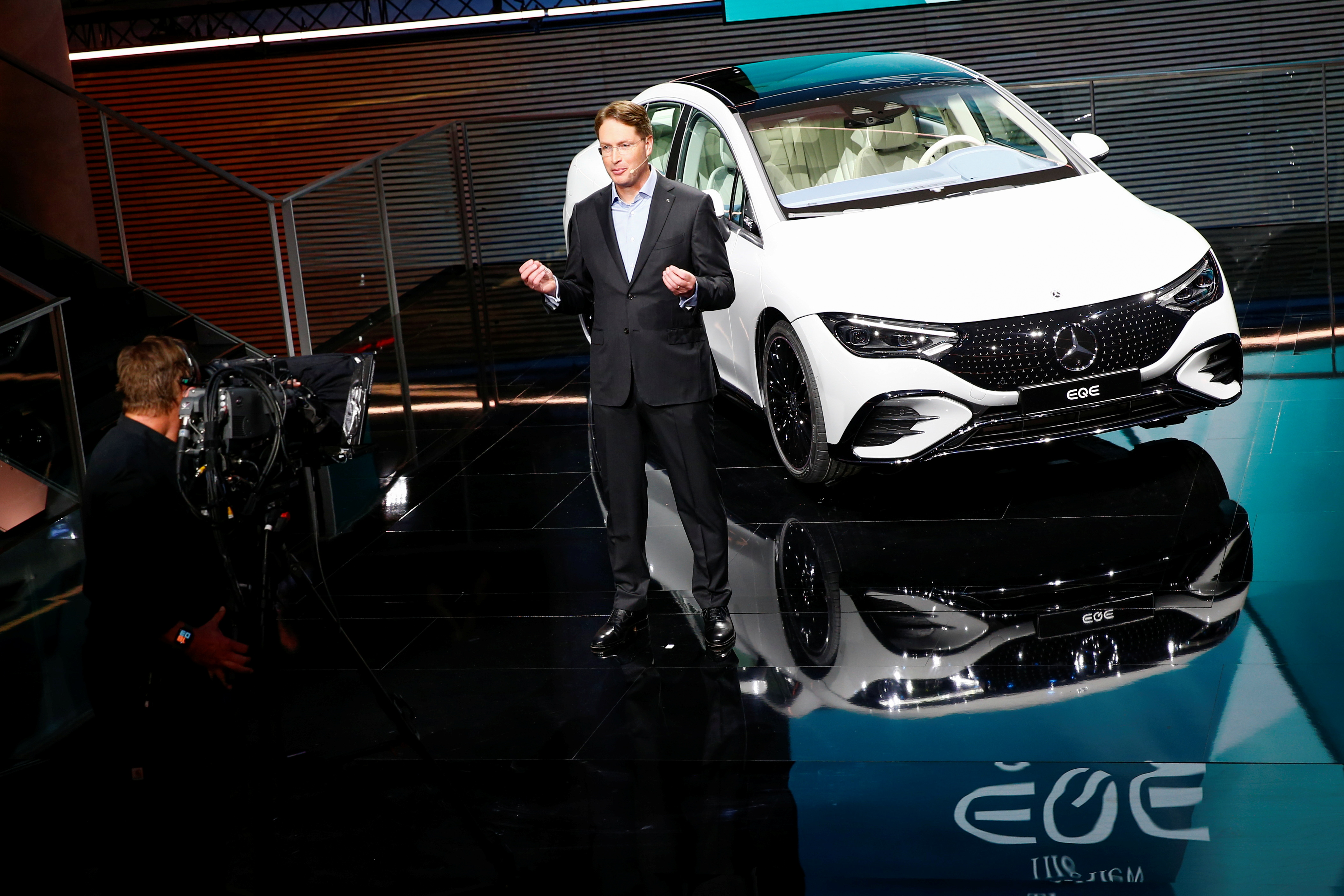 Ola Kaellenius, chairman of Daimler AG, speaks during the presentation of the EQE ahead of the Munich Motor Show IAA Mobility 2021 in Munich, Germany, September 5, 2021. REUTERS/Michaela Rehle