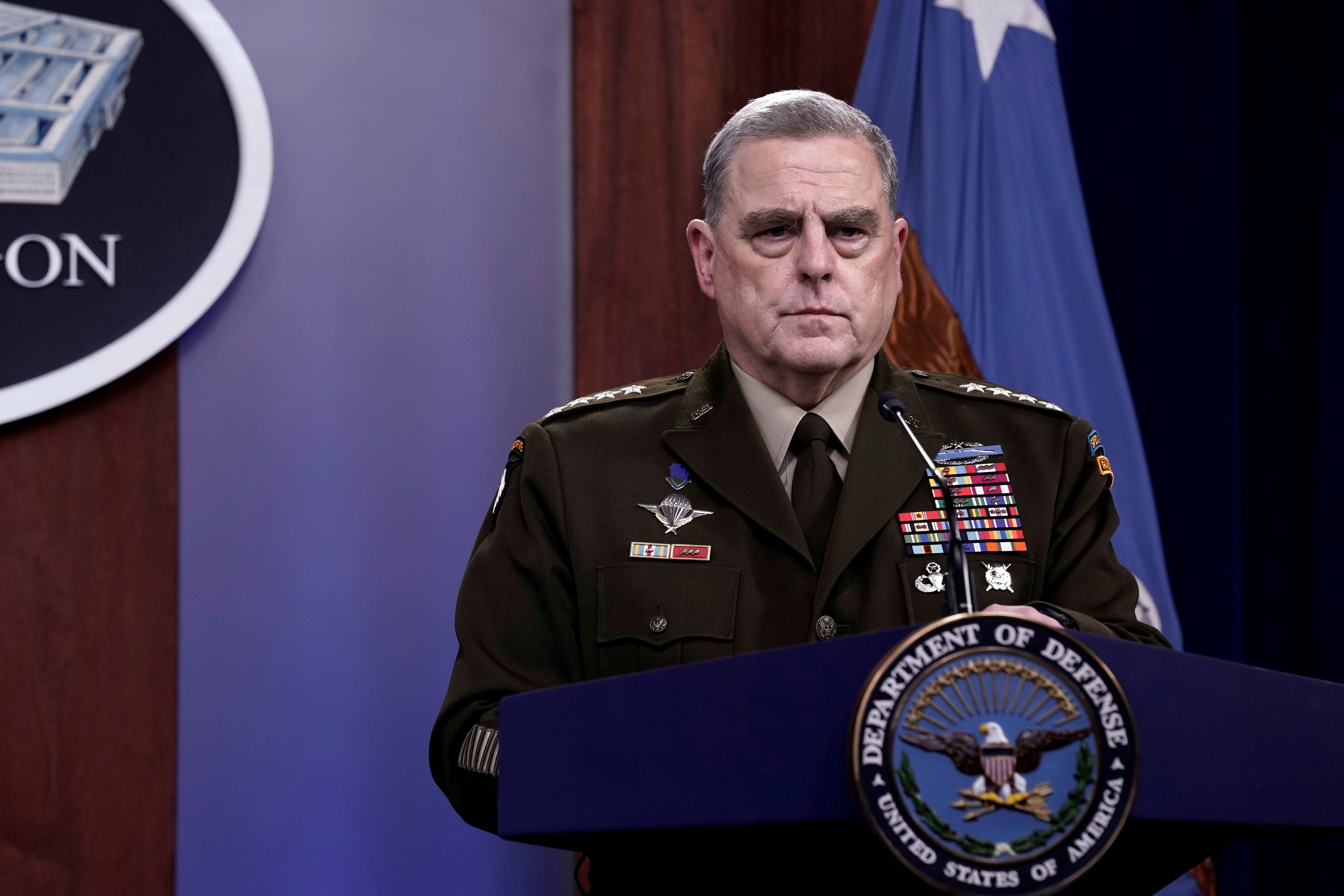 Joint Chiefs of Staff Chairman Army General Mark Milley holds a news briefing at Pentagon in Arlington, Virginia, U.S., August 18, 2021. REUTERS/Yuri Gripas/File Photo