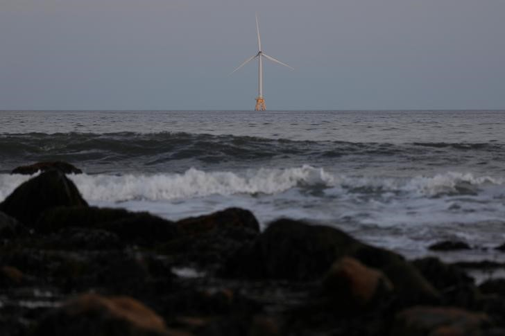 One of the Block Island Wind Farm structures, part of the first commercial offshore wind farm in the United States, located 3.8 miles (6km) from Block Island, sits in the Atlantic Ocean in New Shoreham, Rhode Island,  U.S., August 5, 2019. REUTERS/Shannon Stapleton