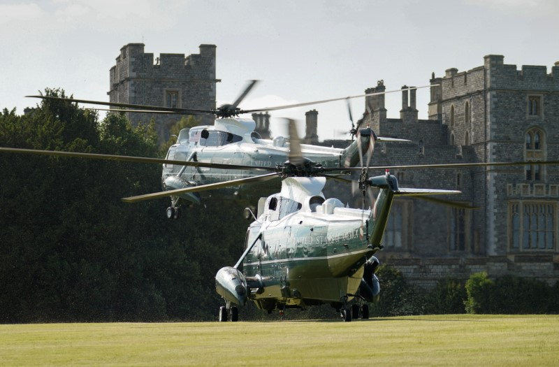 Marine One lands at Windsor Castle with U.S. President Joe Biden and first lady Jill Biden aboard for their visit with Queen Elizabeth II in Windsor, Britain, June 13, 2021. REUTERS/Kevin Lamarque