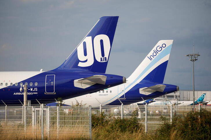 FILE PHOTO: A GoAir Airbus A320neo passenger aircraft is parked at the Airbus factory in Blagnac near Toulouse, July 1, 2020. REUTERS/Benoit Tessier/File Photo