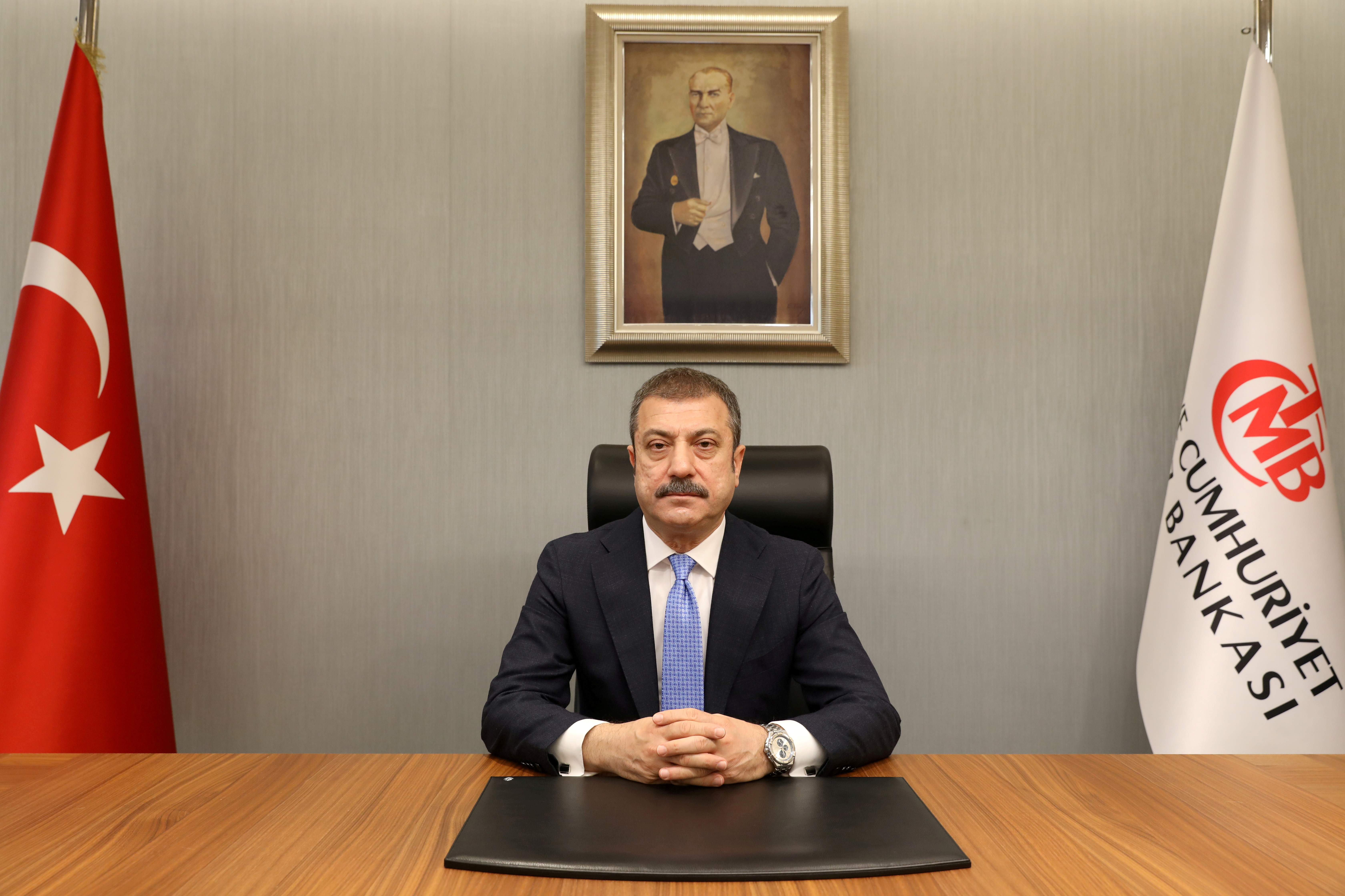 Turkey's new Central Bank Governor Sahap Kavcioglu sits at his office in Ankara, Turkey March 21, 2021. Turkish Central Bank/Handout via REUTERS