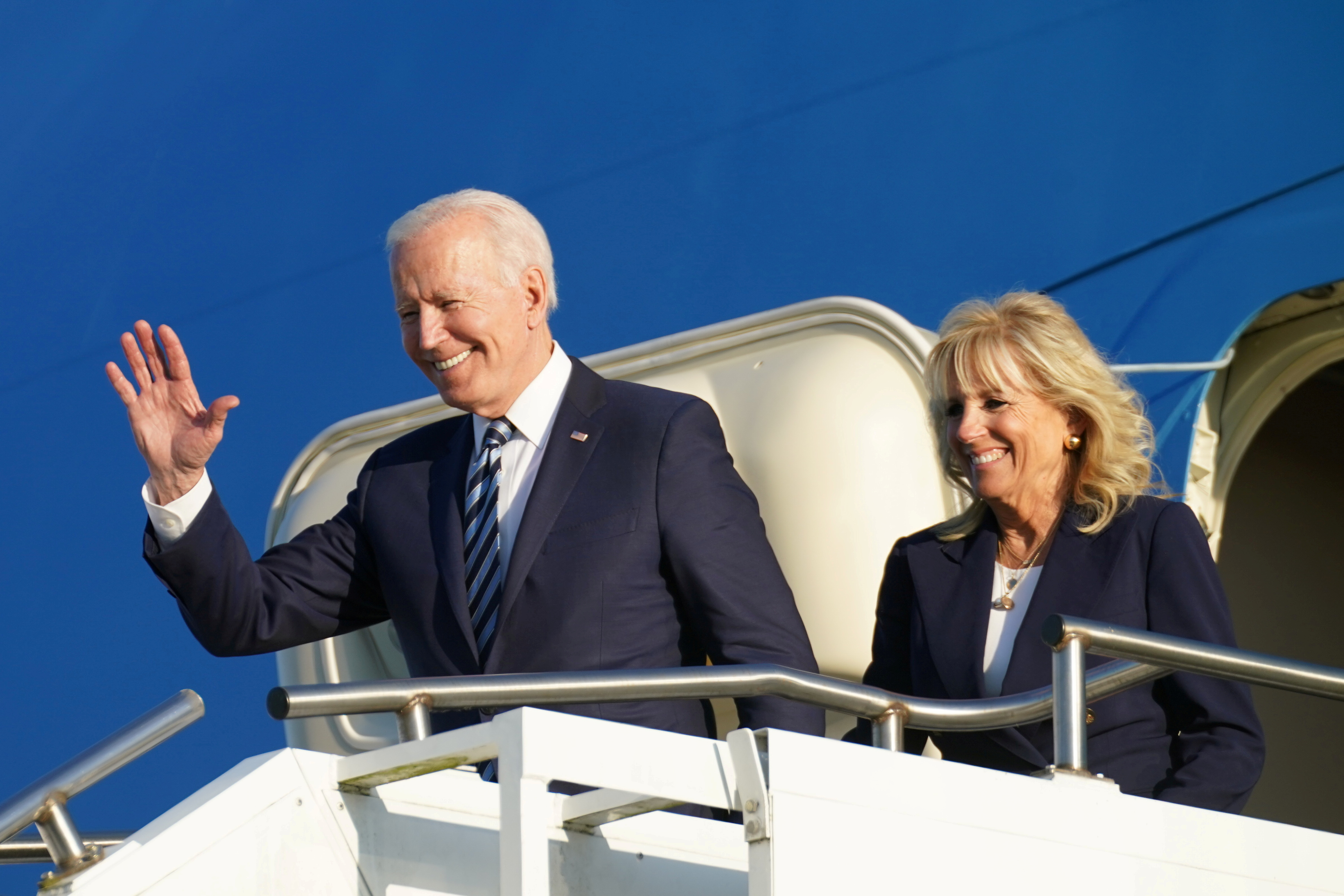 U.S. President Joe Biden and first lady Jill Biden disembark from Air Force One as they arrive at RAF Mildenhall ahead of the G7 Summit, near Mildenhall, Britain June 9, 2021. REUTERS/Kevin Lamarque