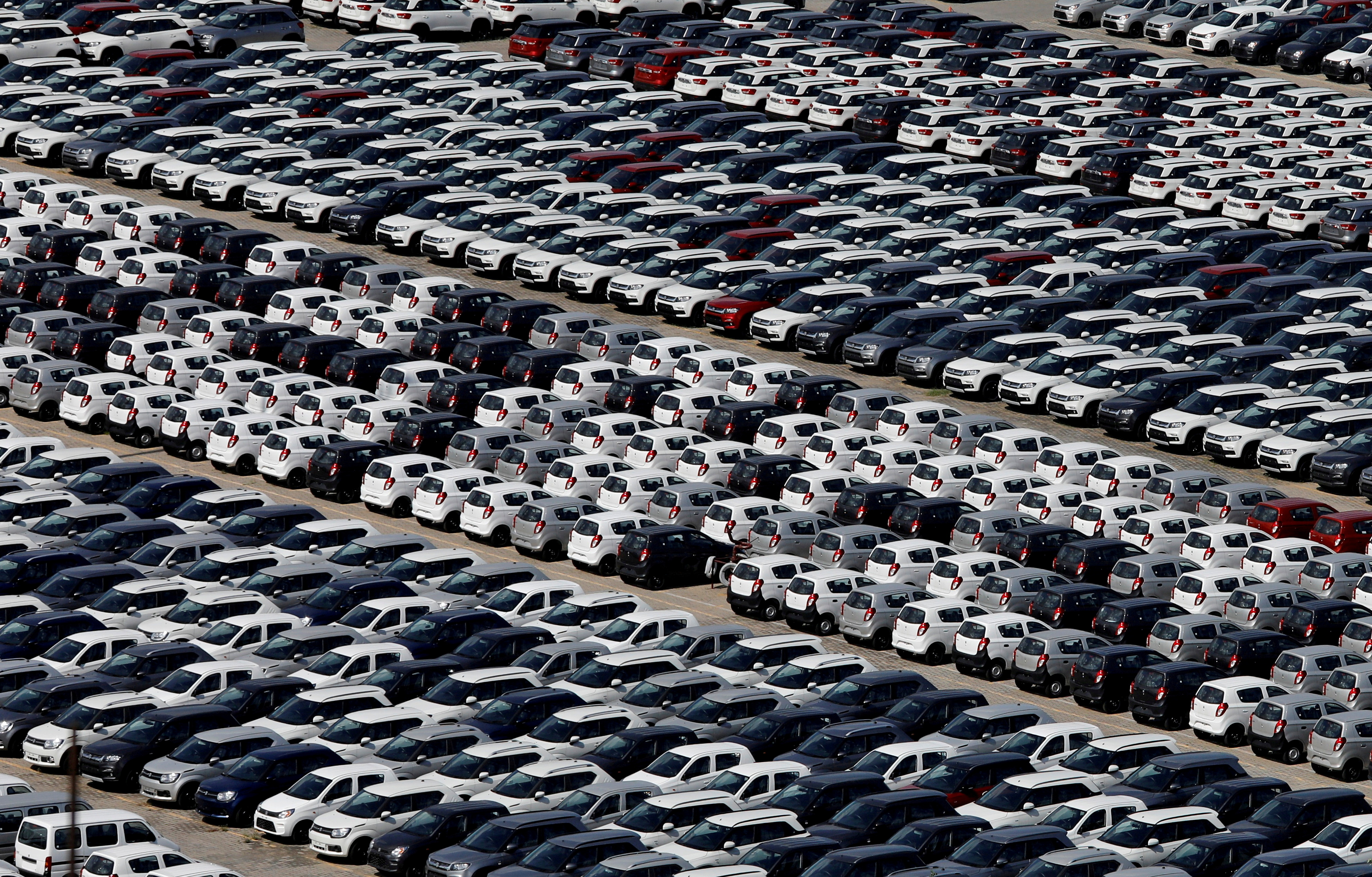 Cars are seen parked at Maruti Suzuki's plant at Manesar, in the northern state of Haryana, India, August 11, 2019. REUTERS/Anushree Fadnavis