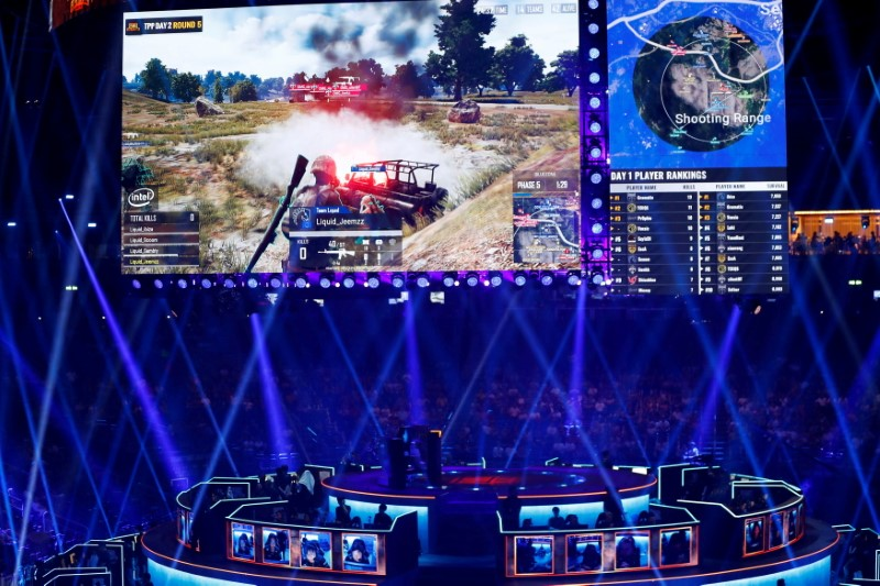 Players are pictured as they attend the PUBG Global Invitational 2018, the first official esports tournament for the computer game PlayerUnknown's Battlegrounds in Berlin, Germany, July 26, 2018.  REUTERS/Fabrizio Bensch/File Photo