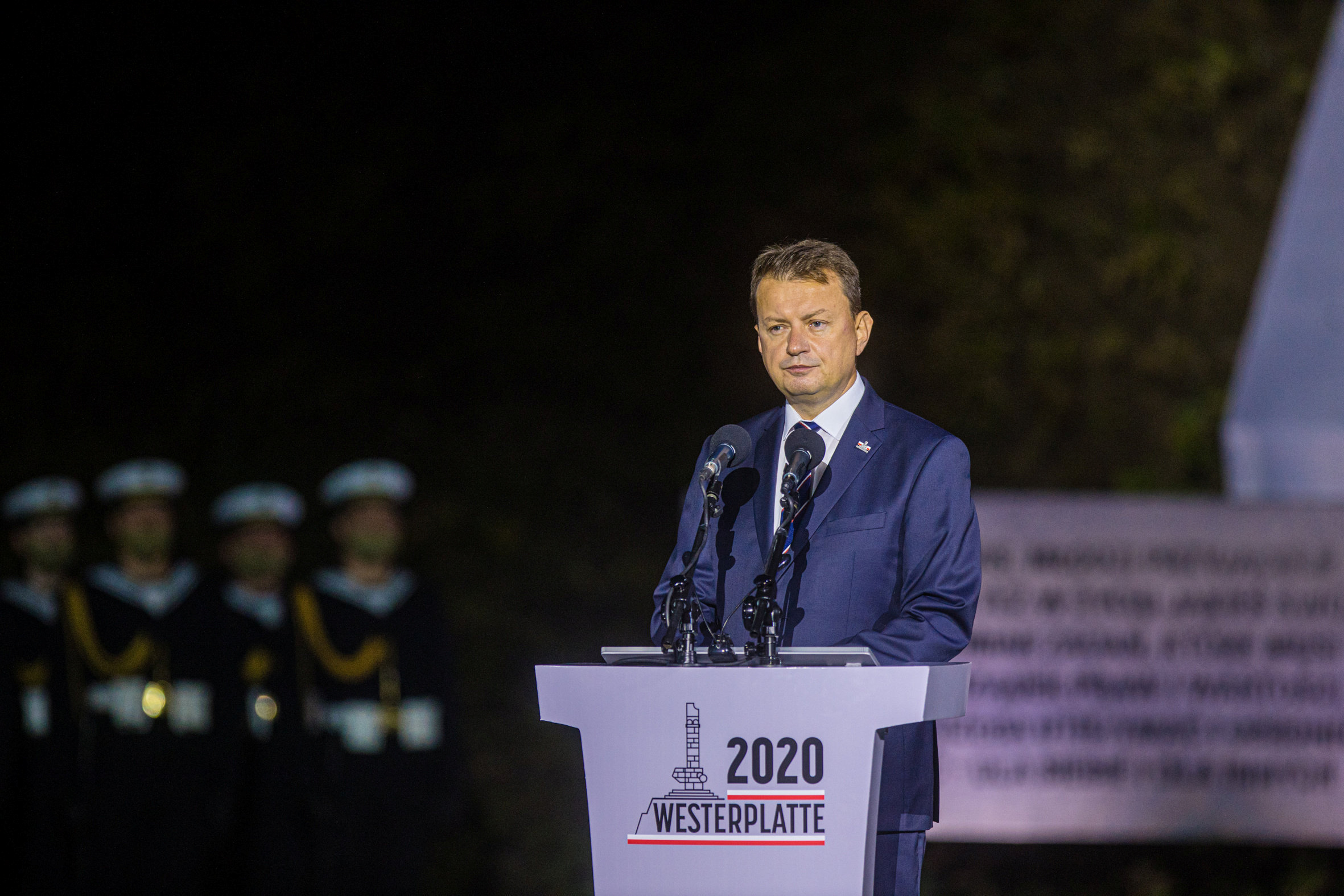 Poland's Minister of Defence Mariusz Blaszczak delivers a speech during a commemorative ceremony to mark the 81st anniversary of the outbreak of World War Two at Westerplatte Memorial in Gdansk, Poland September 1, 2020. Michal Ryniak/Agencja Gazeta/via REUTERS