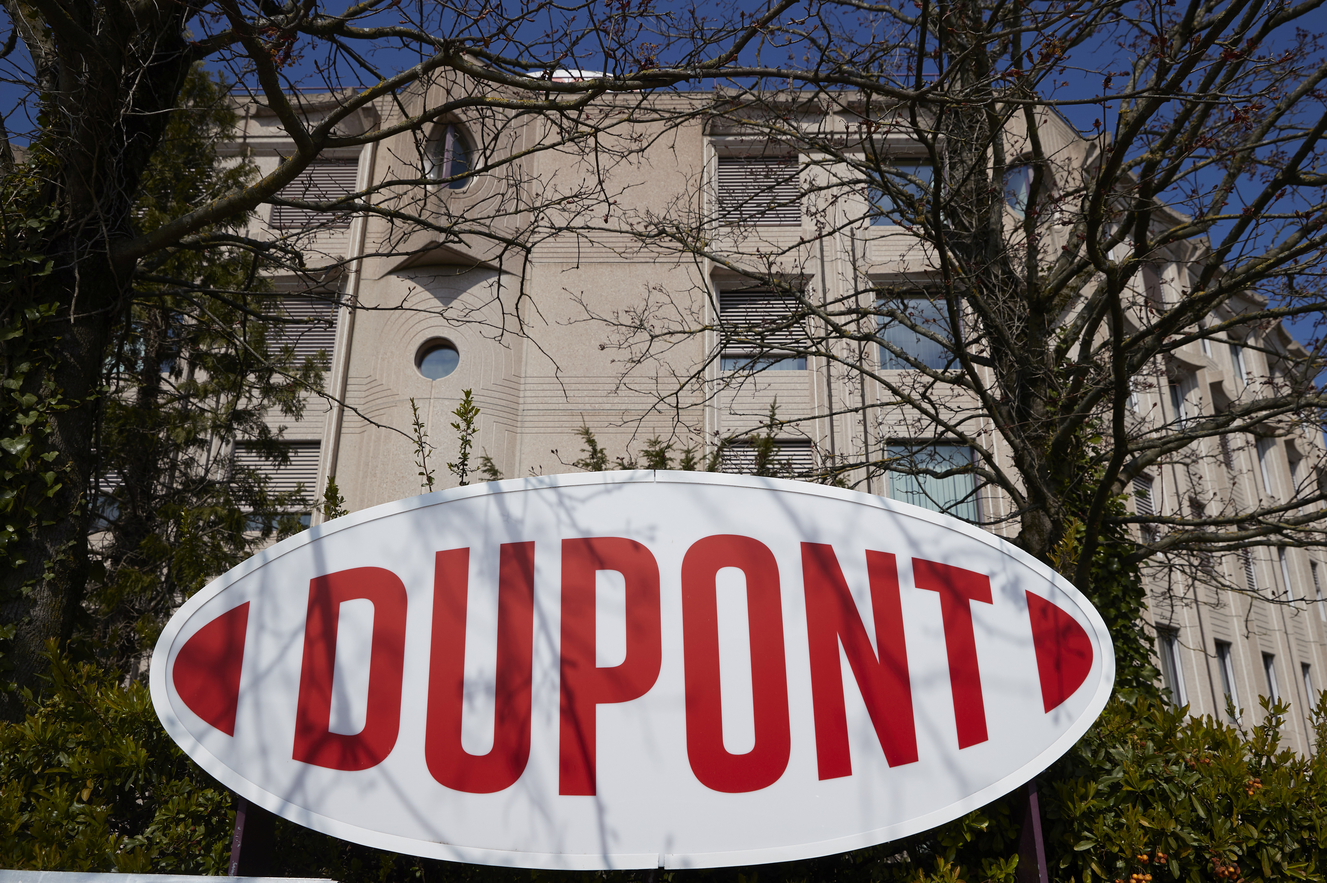 A logo is pictured outside of Dupont offices in Geneva, Switzerland, April 15, 2021. REUTERS/Denis Balibouse