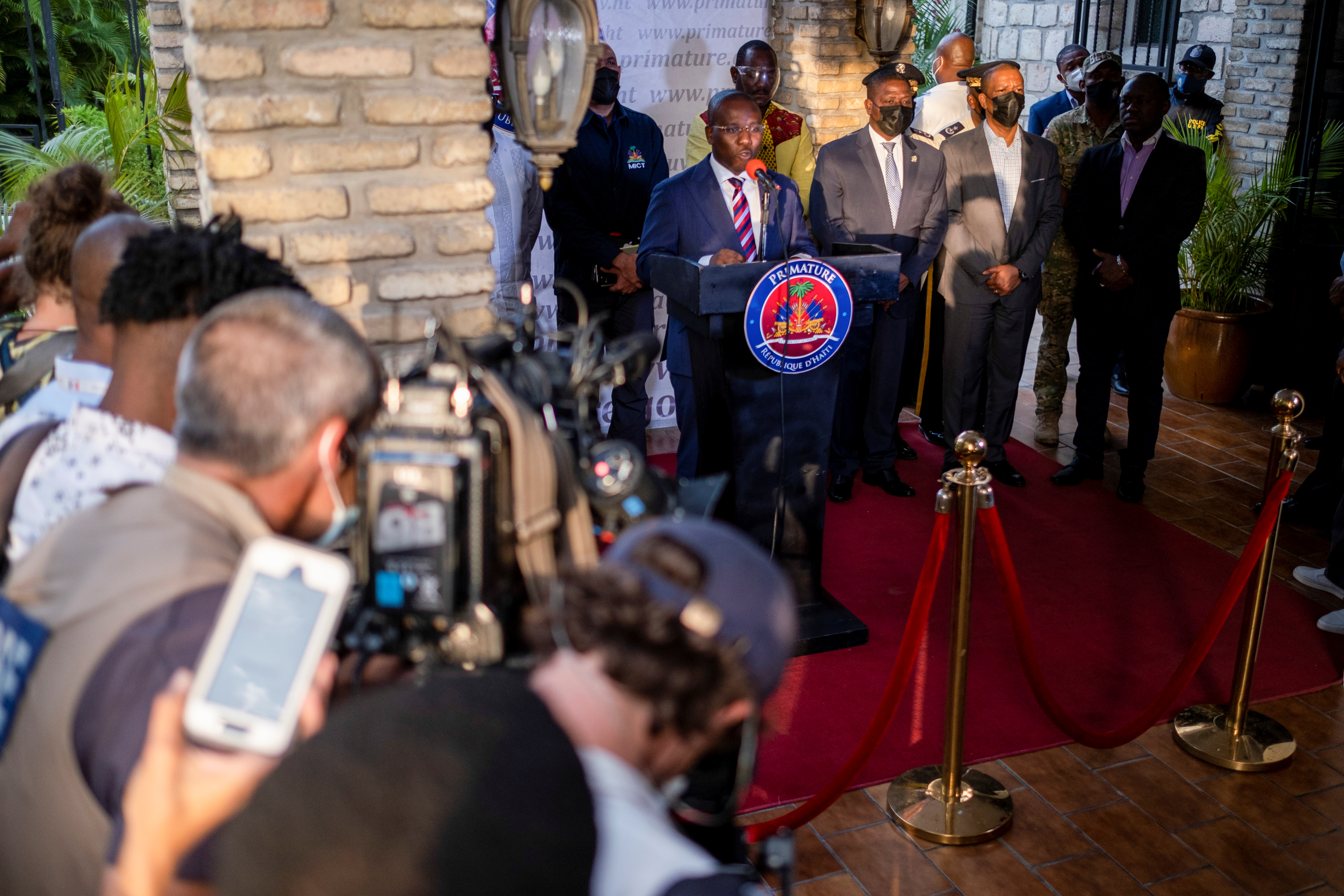 Haiti's interim Prime Minister Claude Joseph speaks during a news conference following the assassination of President Jovenel Moise, in Port-au-Prince, Haiti July 11, 2021.  REUTERS/Ricardo Arduengo