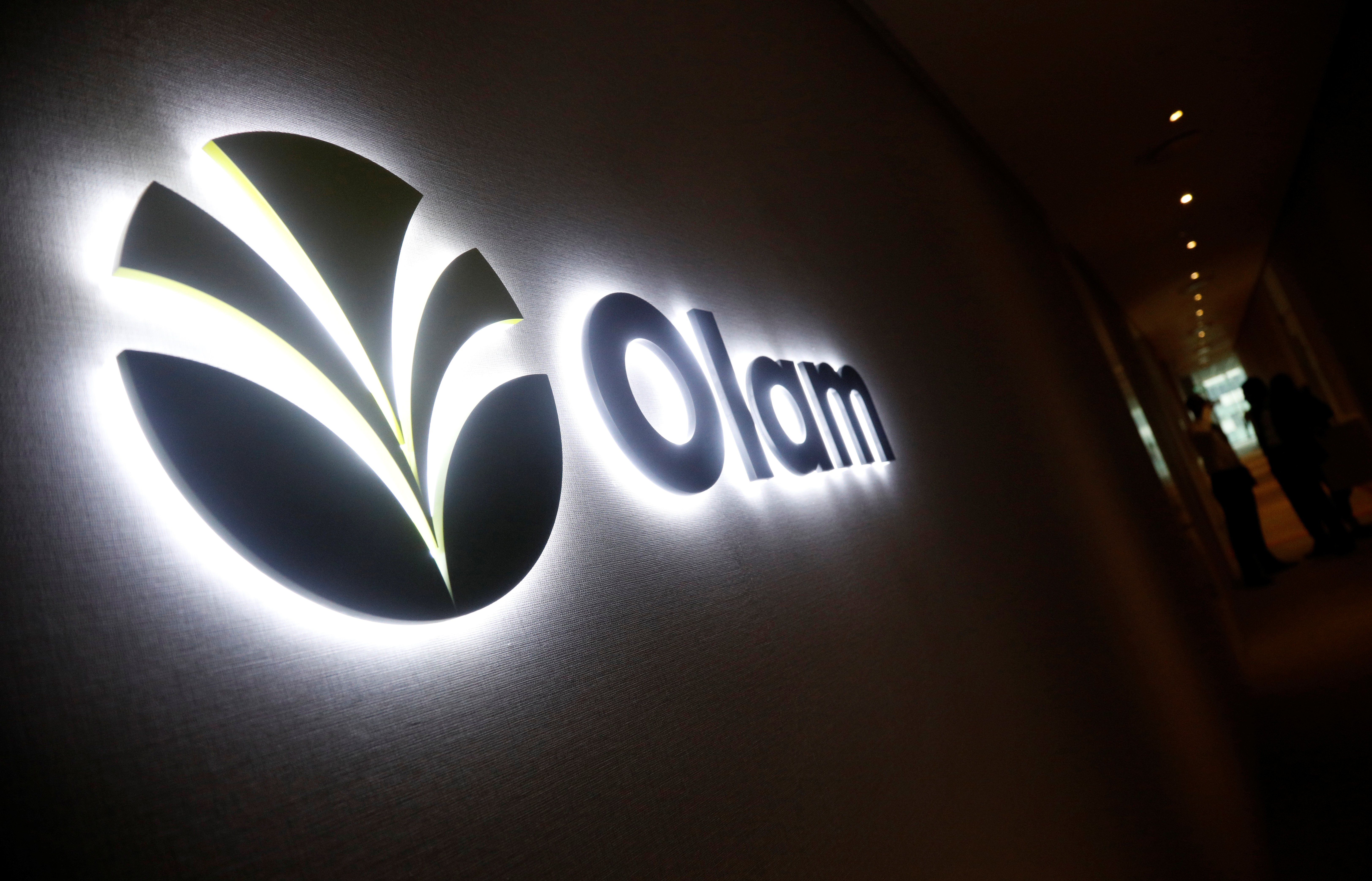 An Olam signage is pictured in their office in Singapore August 14, 2017. REUTERS/Edgar Su/File Photo