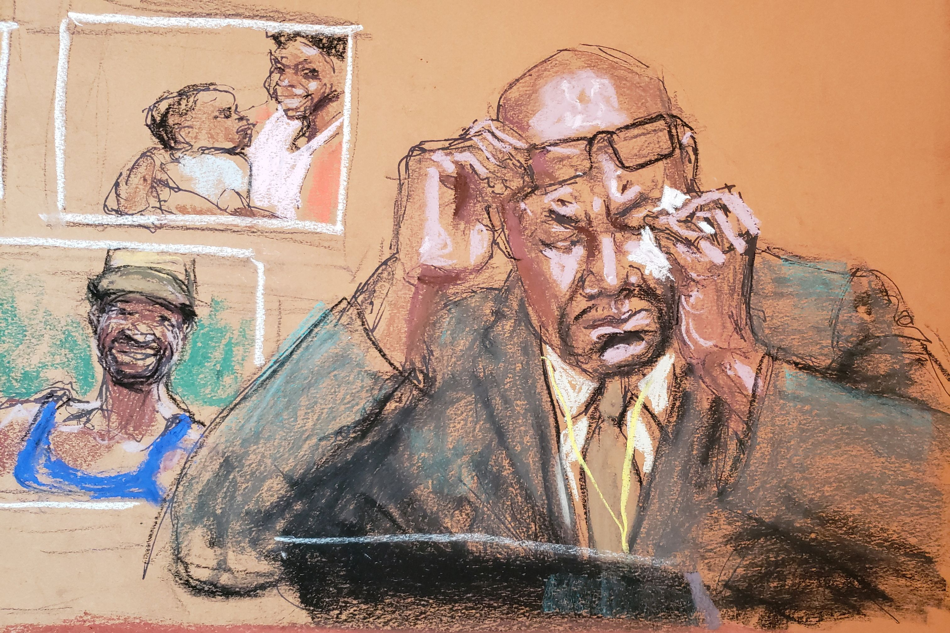 Philonise Floyd speaks about his brother as he answers questions on the eleventh day of the trial of former Minneapolis police officer Derek Chauvin for second-degree murder, third-degree murder and second-degree manslaughter in the death of George Floyd in Minneapolis, Minnesota, U.S. April 12, 2021 in this courtroom sketch. REUTERS/Jane Rosenberg