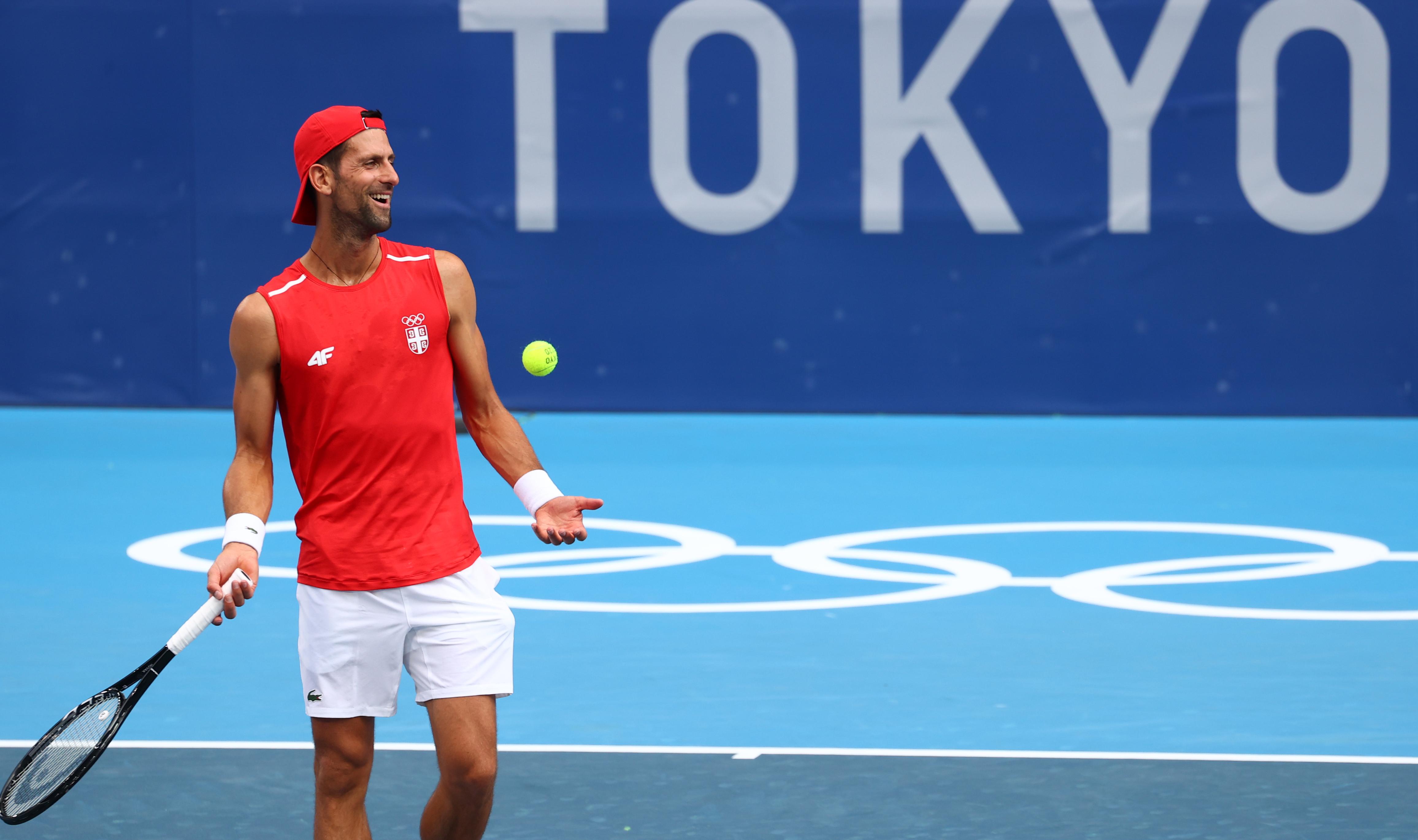 Tokyo 2020 Olympics - Tennis Training - Ariake Tennis Park, Tokyo, Japan - July 22, 2021 Novak Djokovic of Serbia during training. REUTERS/Mike Segar