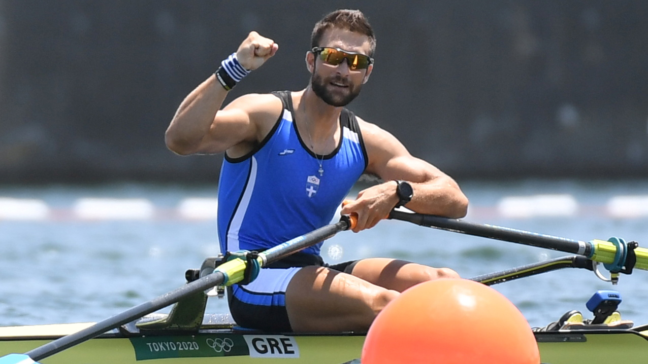 Tokyo 2020 Olympics - Rowing - Men's Single Sculls - Semifinal A/B 2 - Sea Forest Waterway, Tokyo, Japan - July 29, 2021. Stefanos Ntouskos of Greece celebrates react after competing and finishing first in his race REUTERS/Piroschka Van De Wouw