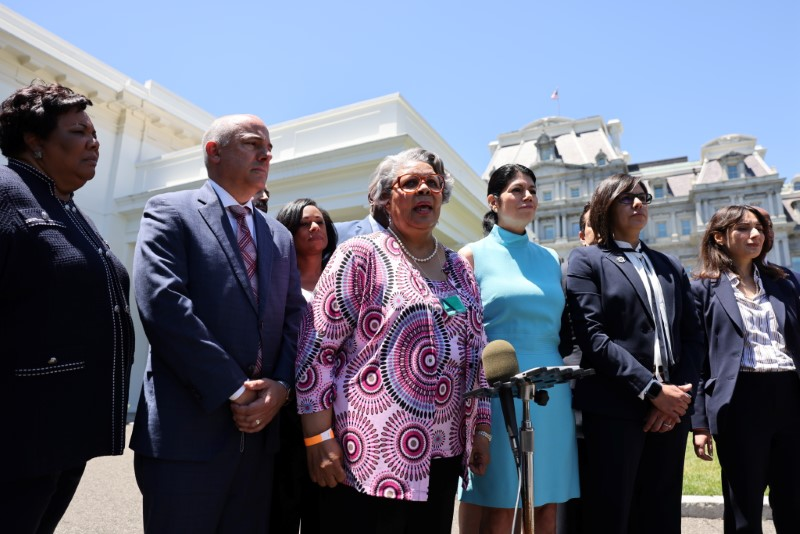 Representative Senfronia Thompson speaks to the media alongside other members of the Texas State Senate and Texas House of Representatives, who in May blocked passage of legislation that would have made it significantly harder for the people of Texas to vote, following a meeting with Vice President Kamala Harris at the White House in Washington, U.S., June16, 2021.REUTERS/Evelyn Hockstein