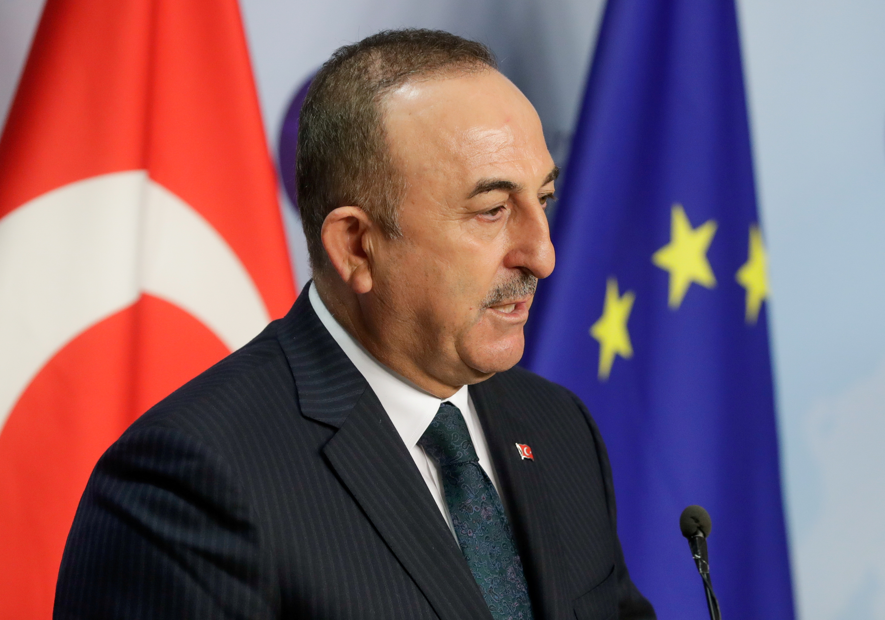 Turkish Foreign Minister Mevlut Cavusoglu speaks in Brussels, Belgium, January 21, 2021. Stephanie Lecocq/Pool via REUTERS