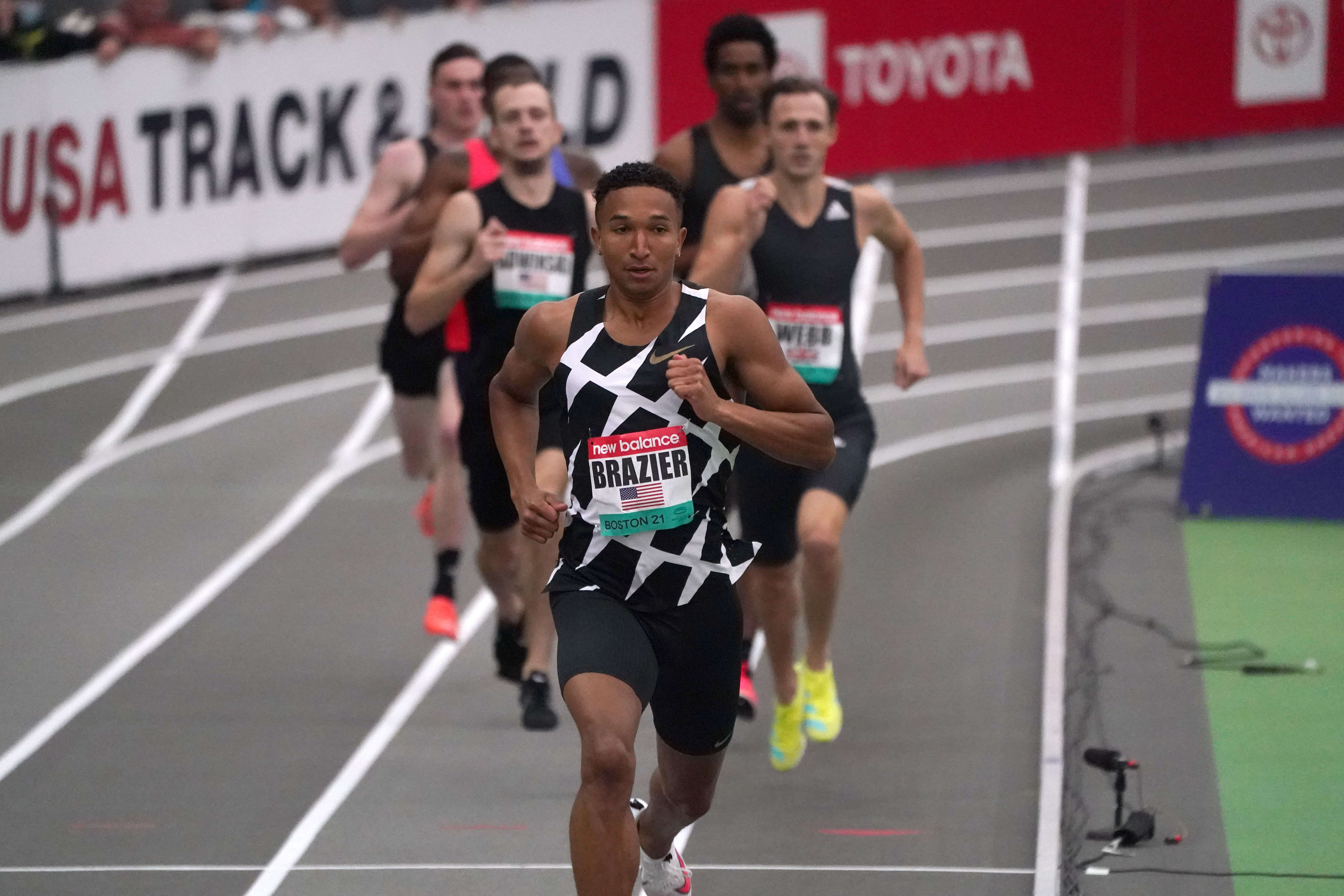 Feb 13, 2021; Staten Island, New York, USA; Donavan Brazier (USA) wins the 800m in an American record 1:44.21 during the New Balance Indoor Grand Prix at Ocean Breeze Athletic Complex. Mandatory Credit: Kirby Lee-USA TODAY Sports