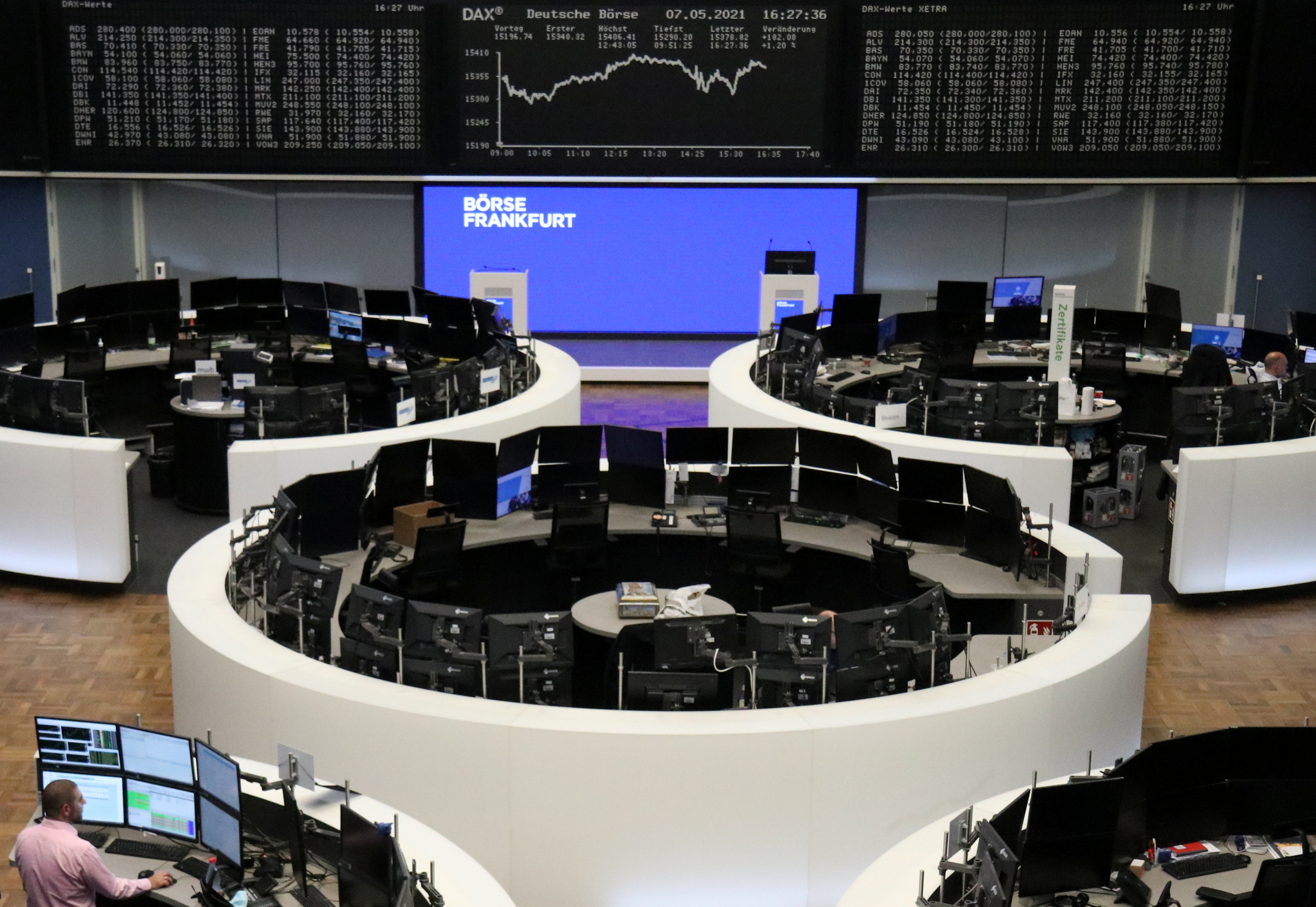 The German share price index DAX graph is pictured at the stock exchange in Frankfurt, Germany, May 7, 2021. REUTERS/Staff