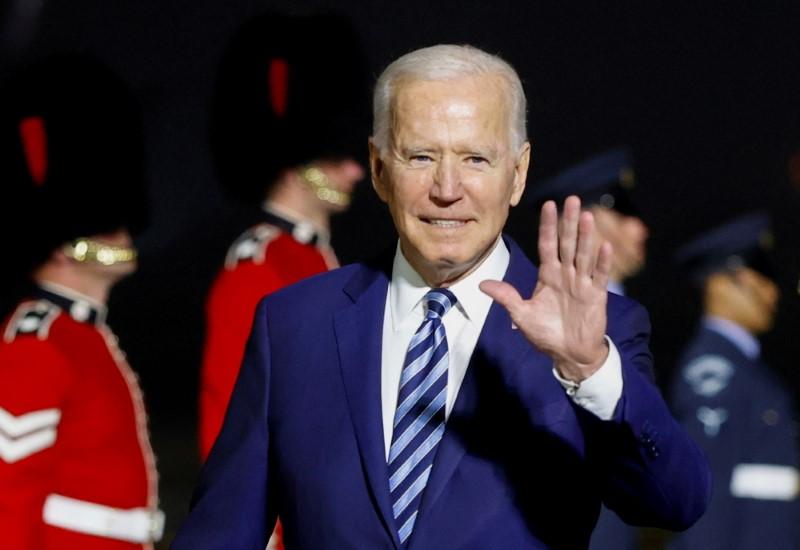 U.S. President Joe Biden waves upon arrival at Cornwall Airport Newquay, near Newquay, Cornwall, Britain June 9, 2021. REUTERS/Phil Noble/Pool/File Photo