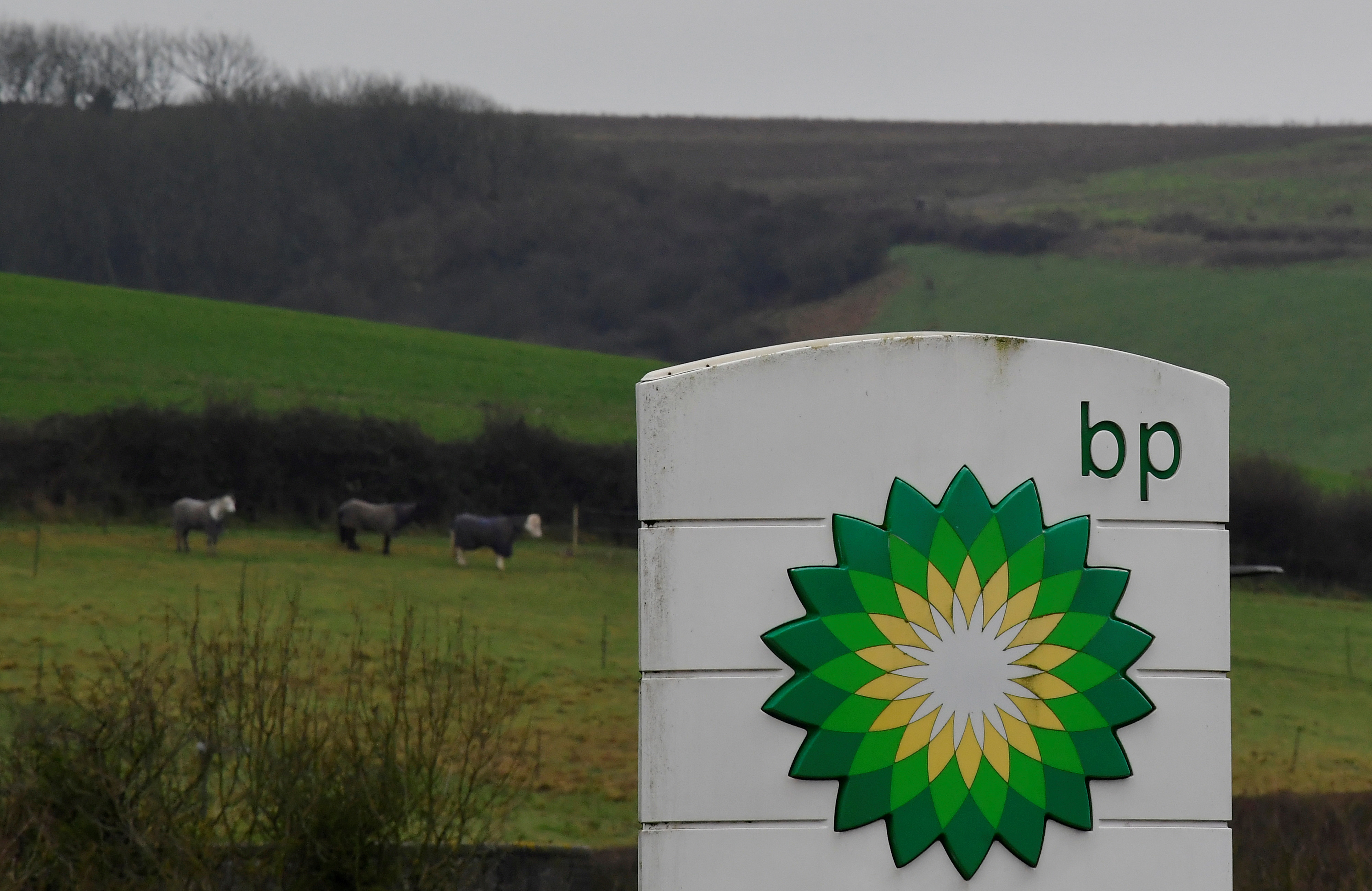 BP signage is seen at a service station near Brighton, Britain, January 30, 2021. REUTERS/Toby Melville