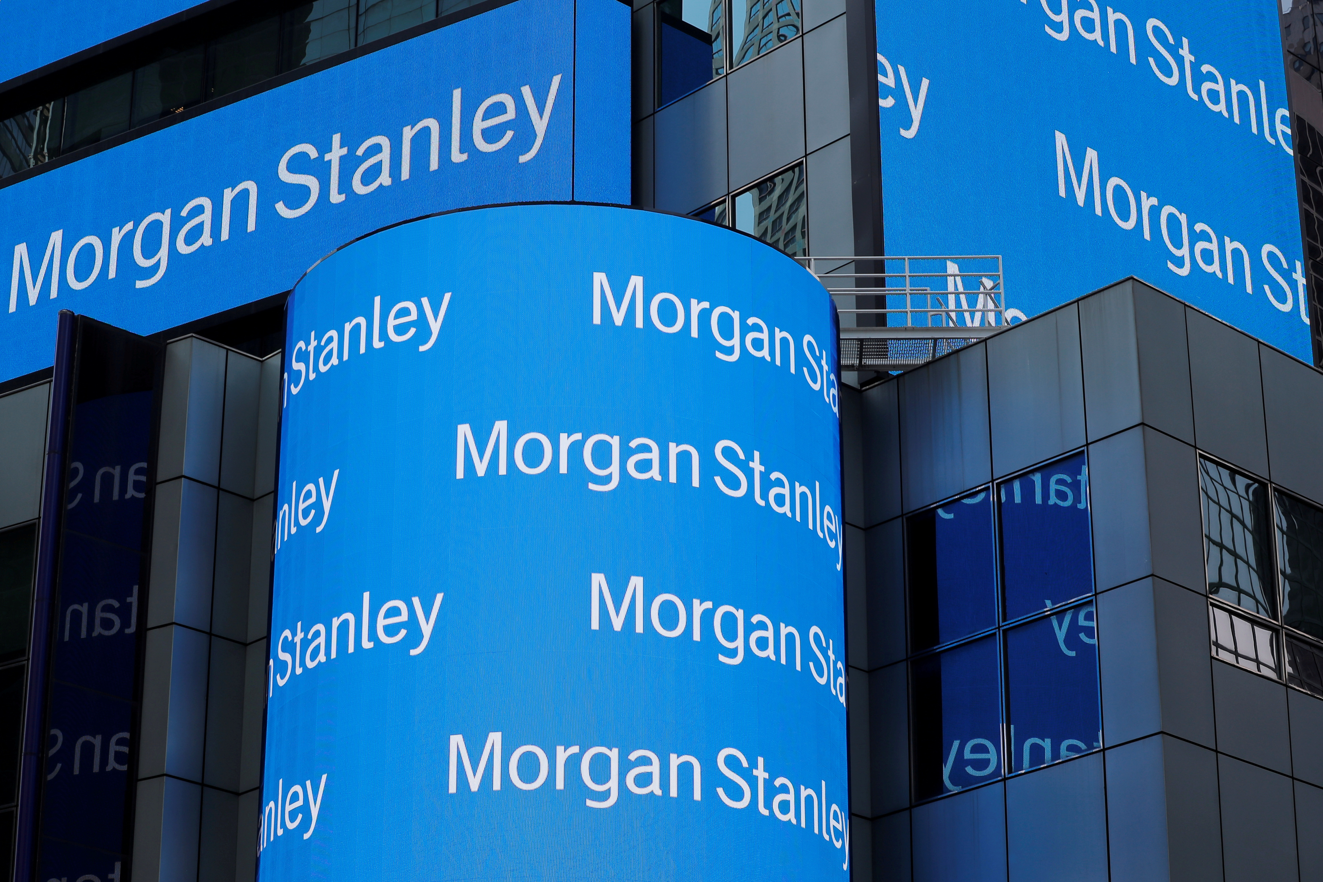 A sign is displayed on the Morgan Stanley building in New York U.S., July 16, 2018. REUTERS/Lucas Jackson