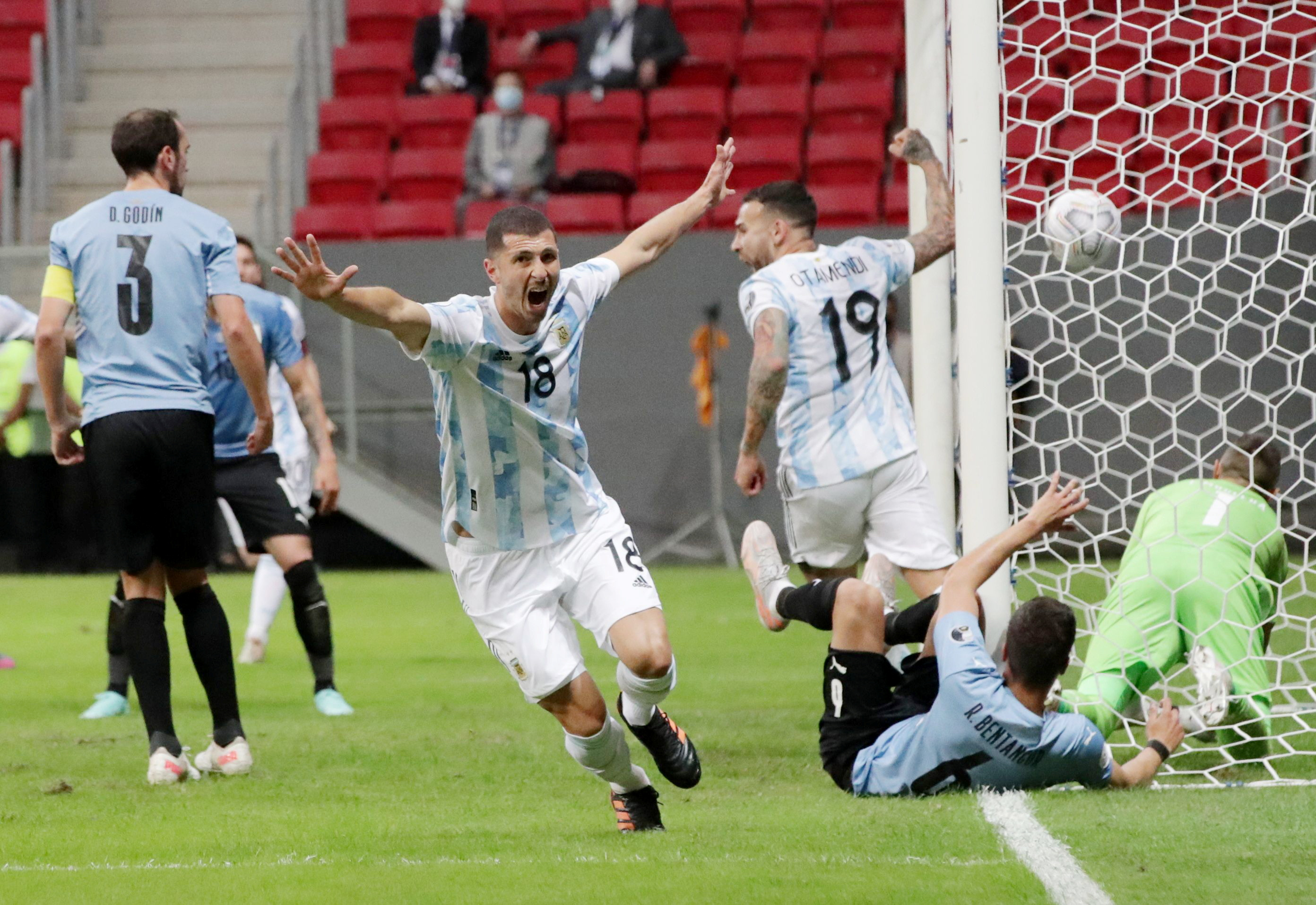 Soccer Football - Copa America 2021 - Group A - Argentina v Uruguay - Estadio Mane Garrincha, Brasilia, Brazil - June 18, 2021 Argentina's Guido Rodriguez celebrates scoring their first goal REUTERS/Henry Romero