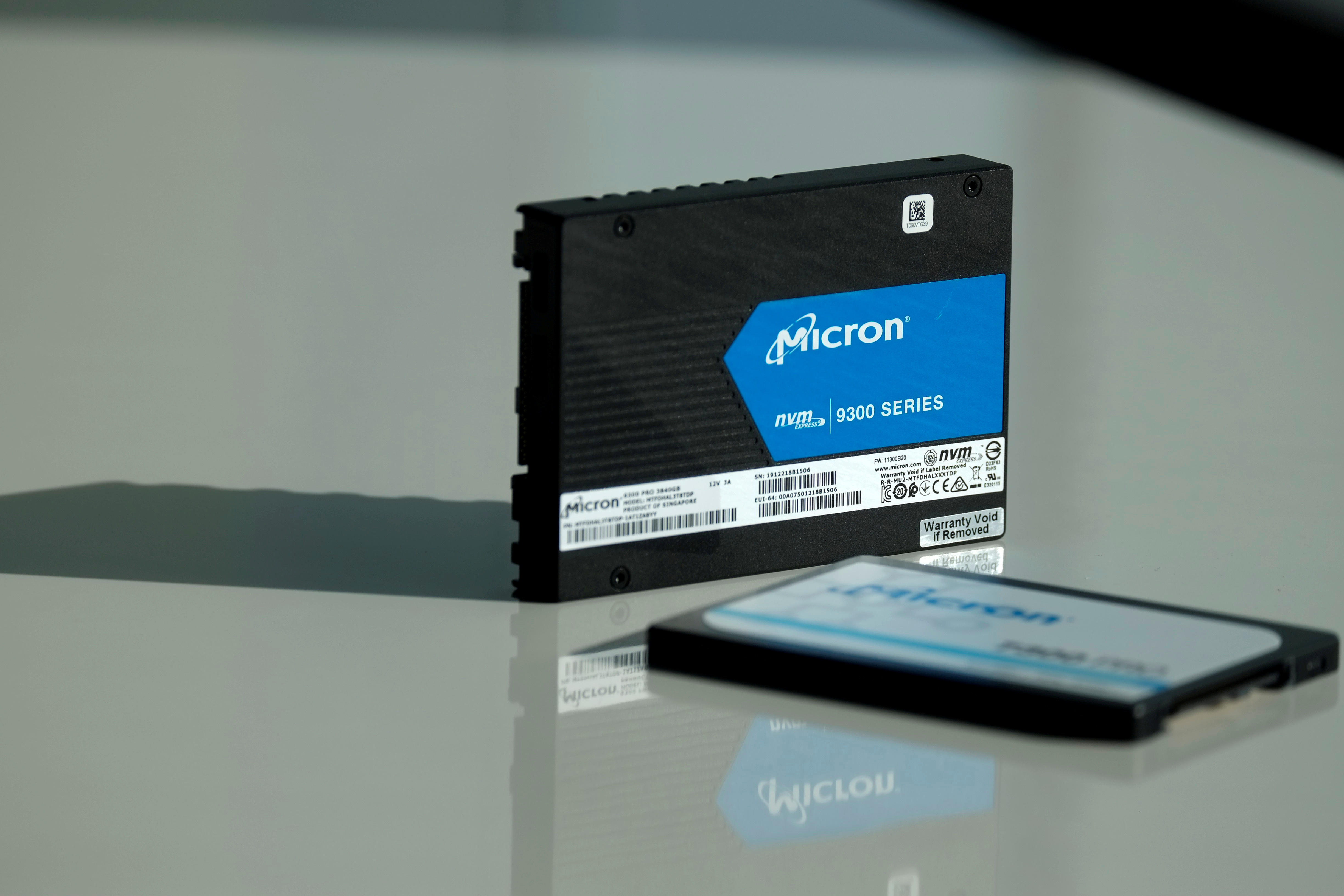 Micron Technology's solid-state drive for data center customers is presented at a product launch event in San Francisco, U.S., October 24, 2019. REUTERS/Stephen Nellis