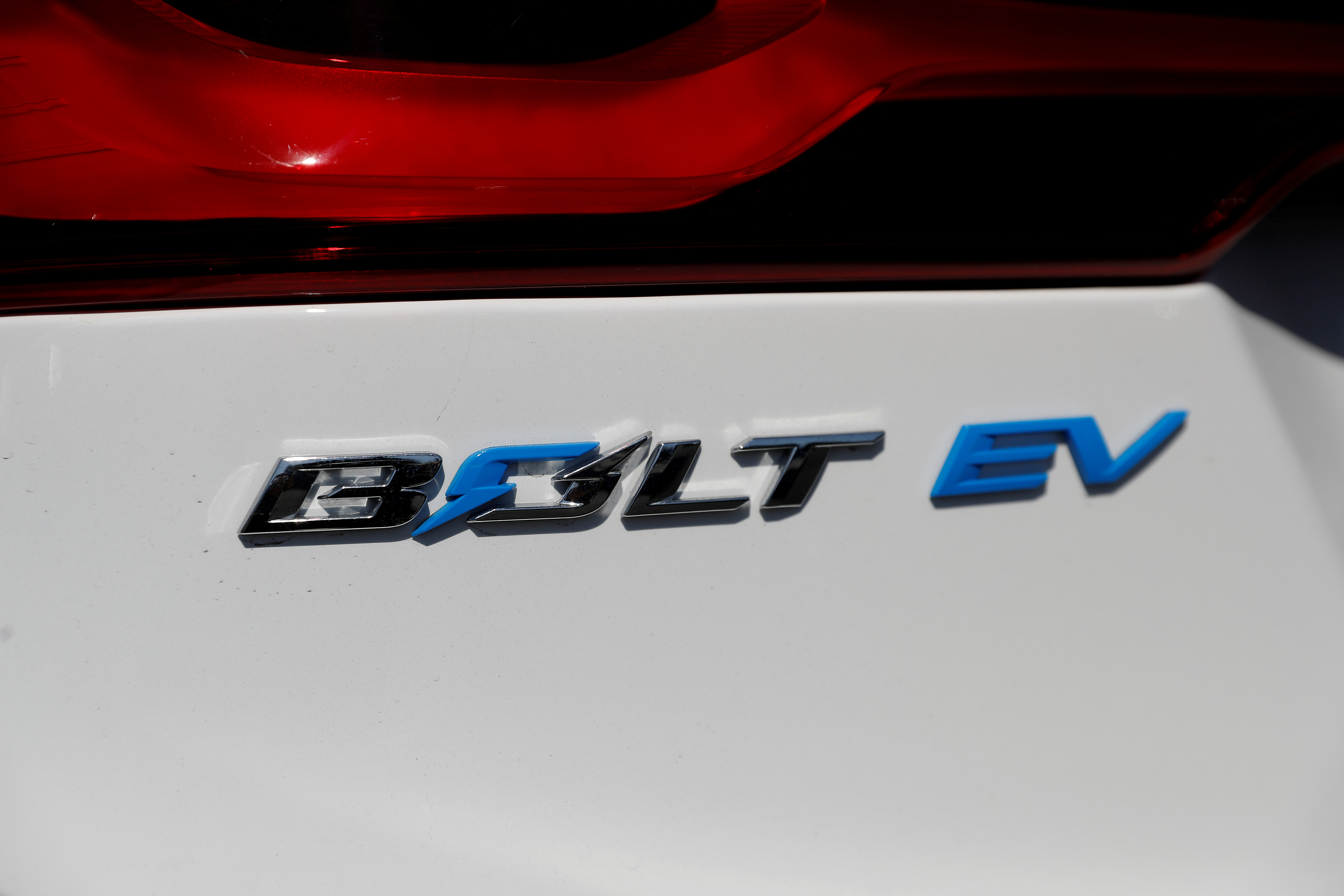 A close-up view of the Chevrolet Bolt electric vehicle logo is seen at Stewart Chevrolet in Colma, California, U.S., October 3, 2017. REUTERS/Stephen Lam