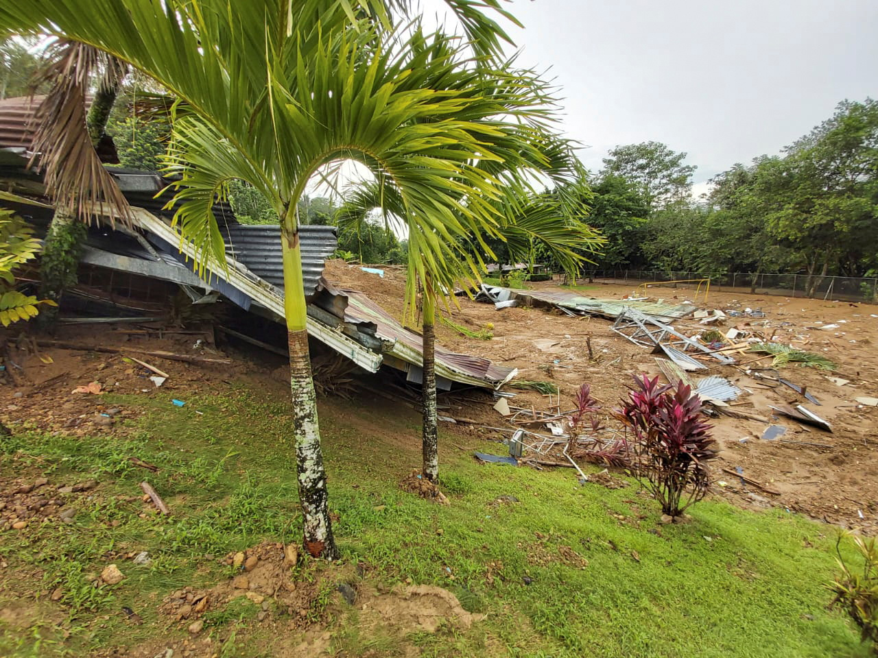 A school damaged by a mudslide due to heavy rains is pictured in Limon, Costa Rica July 26, 2021. Costa Rica's Presidency/Handout via REUTERS