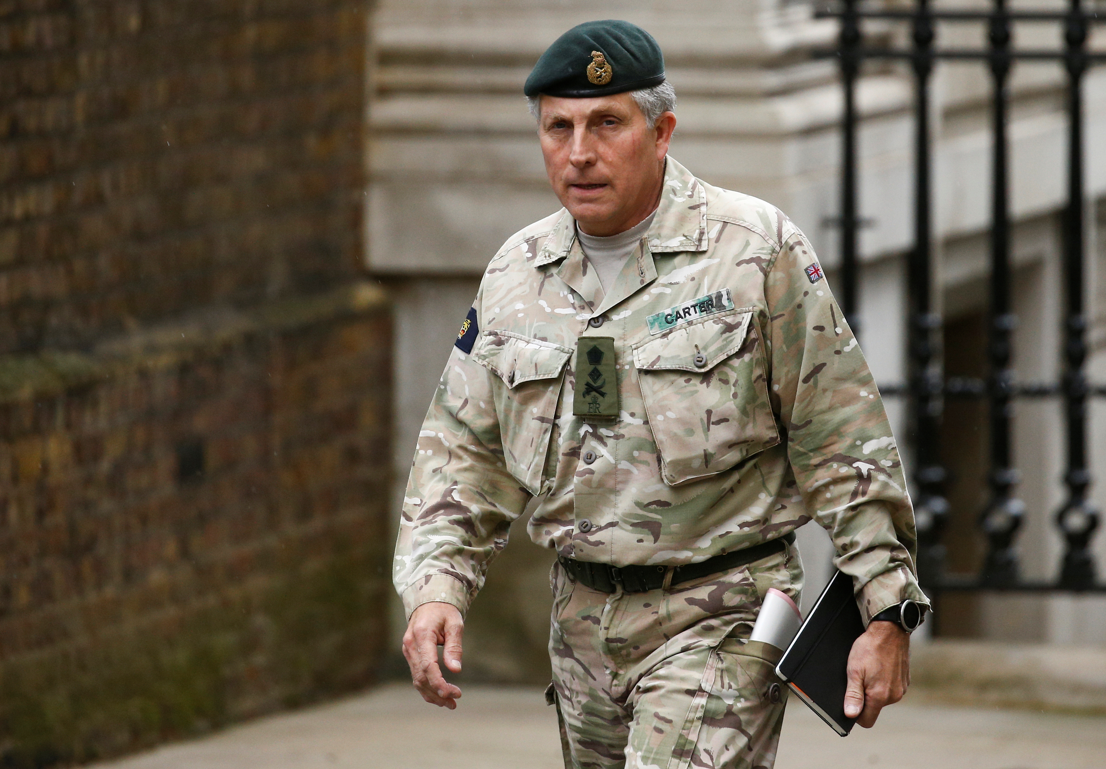 British Army General Sir Nick Carter arrives for a meeting to address the government's response to the coronavirus outbreak, at Downing Street in London, Britain March 12, 2020. REUTERS/Henry Nicholls
