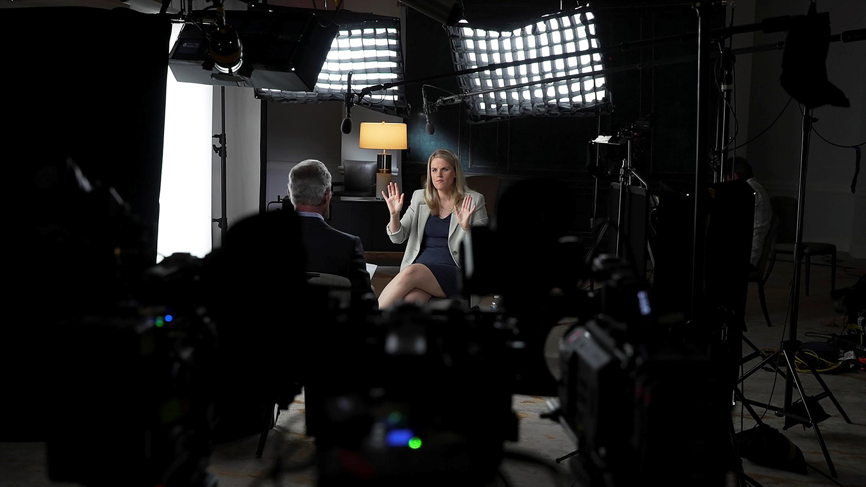Facebook whistleblower Frances Haugen is interviewed by Scott Pelley for a CBS News 60 Minutes program in an undated photograph.  Robert Fortunato for CBS News/60MINUTES/Handout via REUTERS