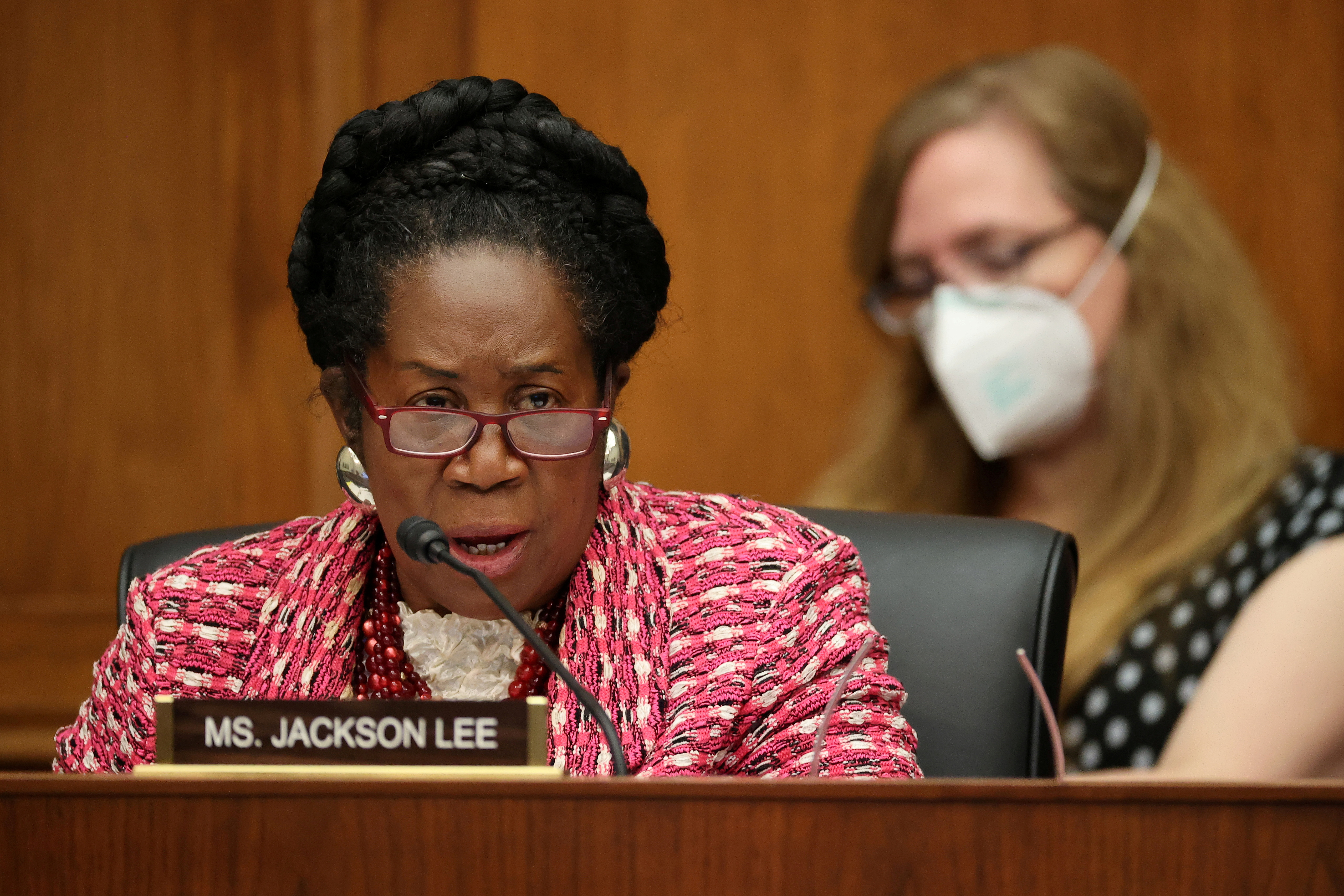 House Homeland Security Committee member Rep. Sheila Jackson Lee (D-TX) questions witnesses during a hearing about 'worldwide threats to the homeland' in the Rayburn House Office Building on Capitol Hill in Washington, U.S., September 17, 2020. Chip Somodevilla/Pool via REUTERS