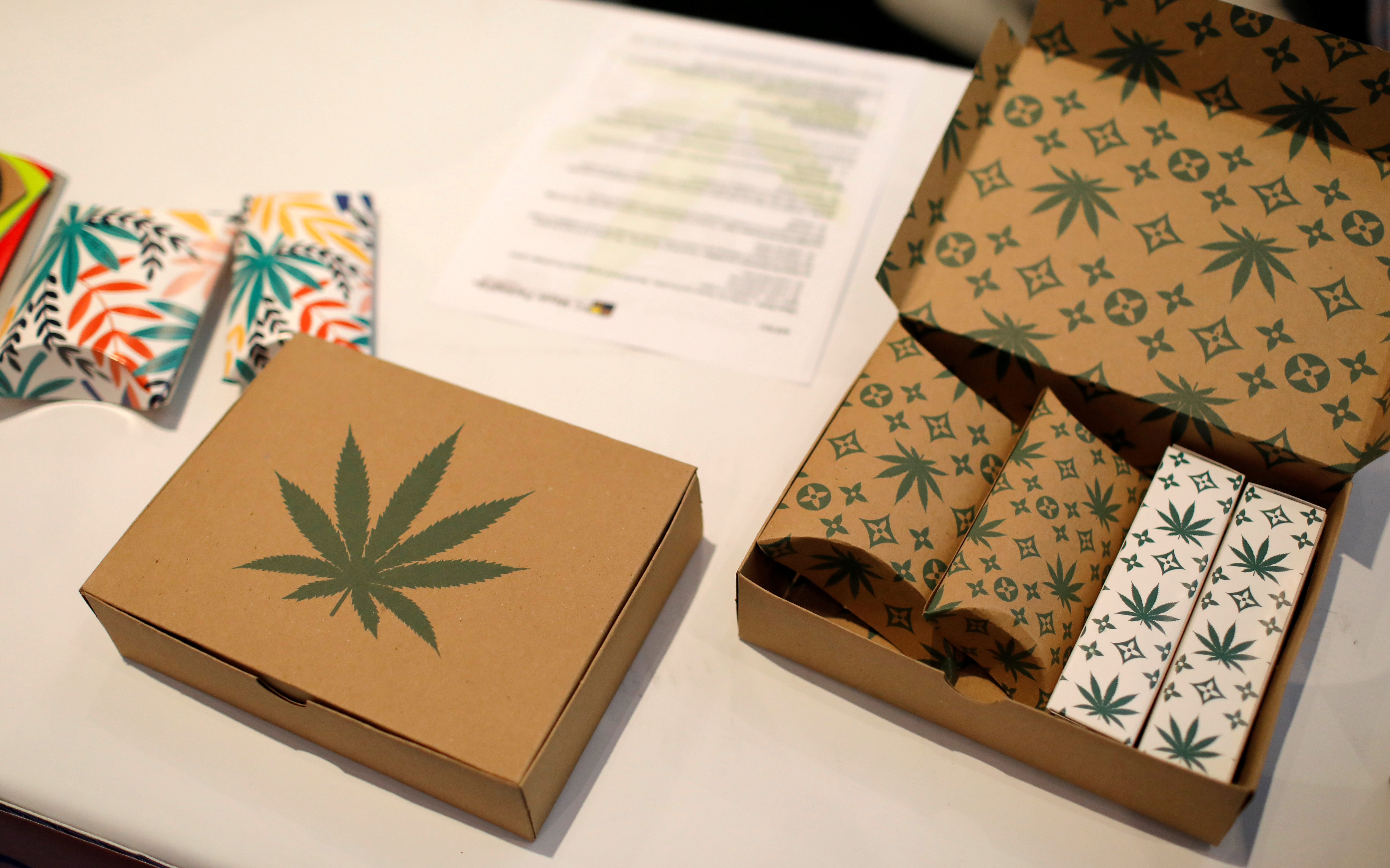 Cannabis product boxes are displayed at The Cannabis World Congress & Business Exposition (CWCBExpo) trade show in New York City, New York, U.S., May 30, 2019. REUTERS/Mike Segar/File Photo