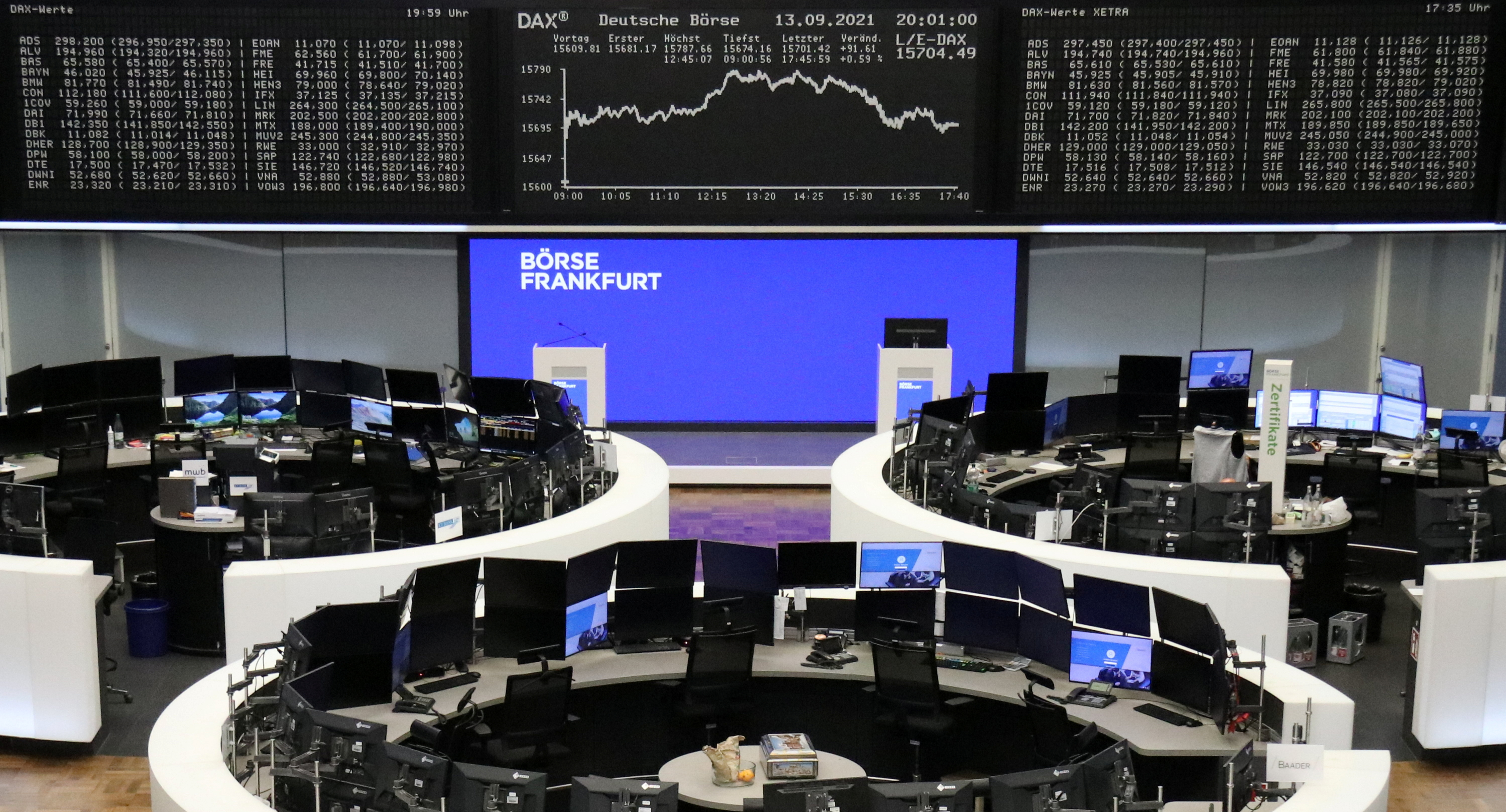 The German share price index DAX graph is pictured at the stock exchange in Frankfurt, Germany, September 13, 2021. REUTERS/Staff/File photo