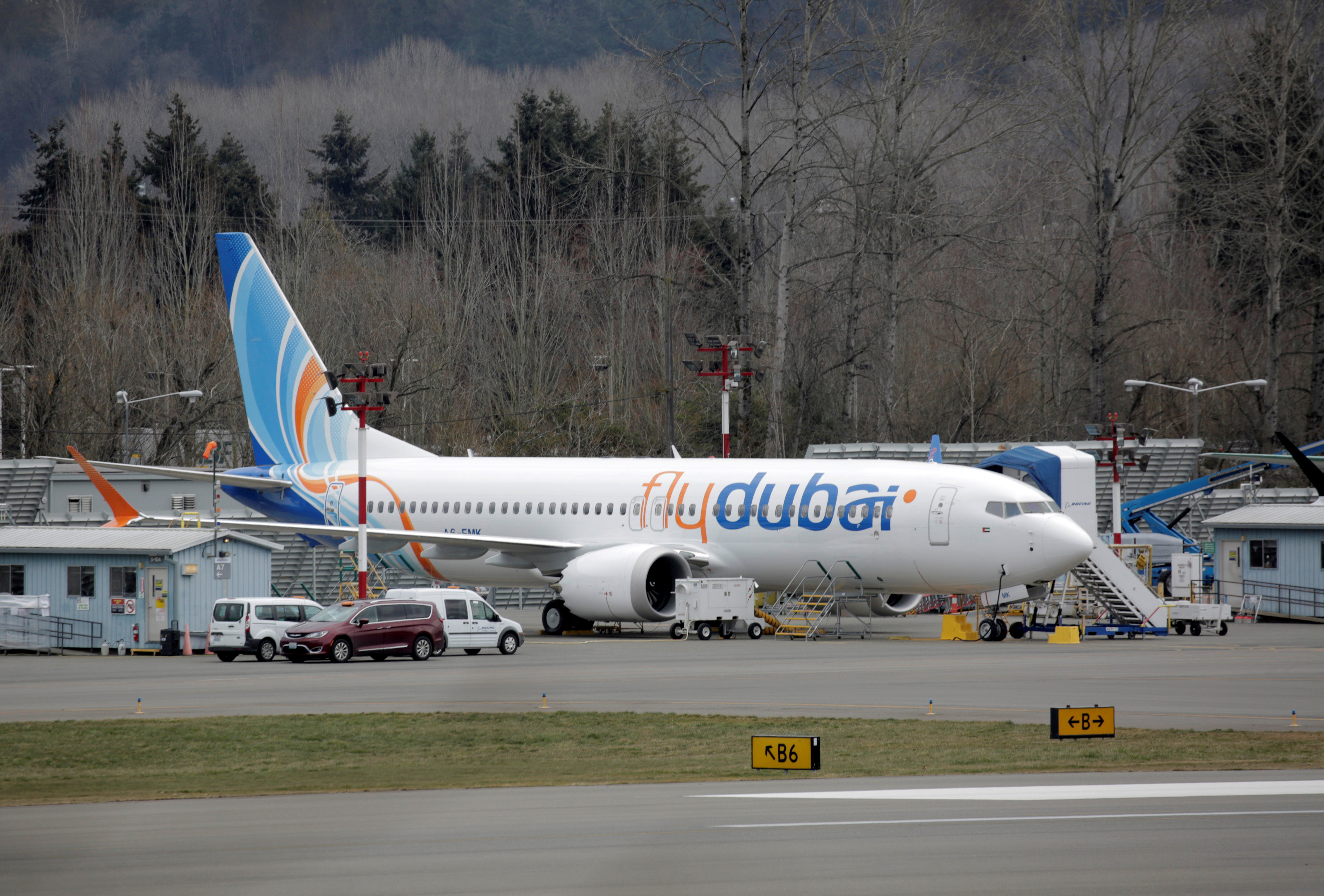 A Boeing 737 MAX aircraft bearing the logo of flydubai is parked at a Boeing production facility in Renton, Washington, U.S. March 11, 2019. REUTERS/David Ryder/File Photo
