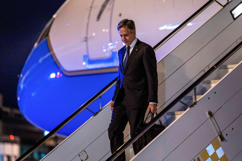 U.S. Secretary of State Antony Blinken arrives at Bari Airport in Bari, Italy June 28, 2021. Andrew Harnik/Pool via REUTERS