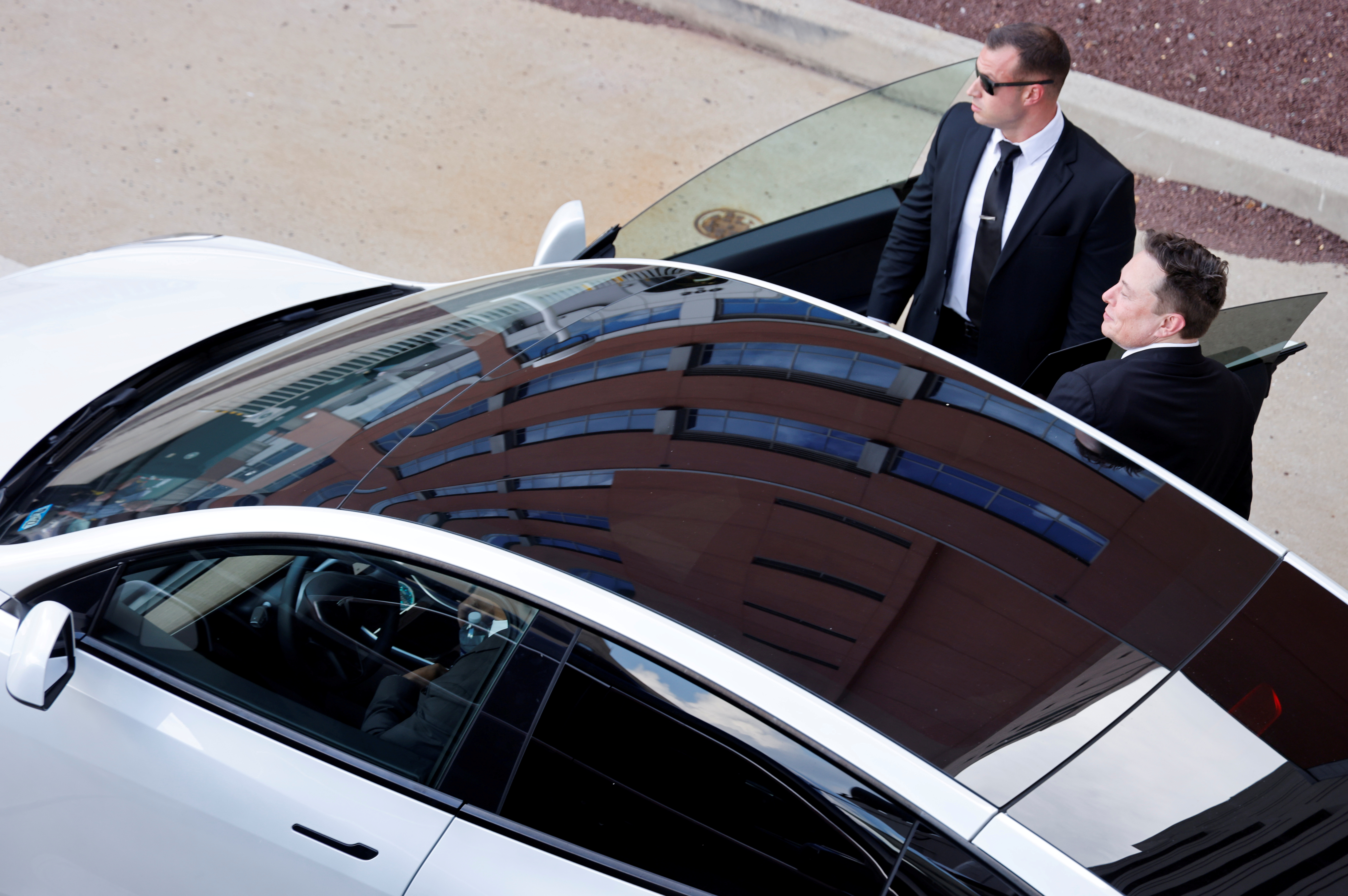 Tesla CEO Elon Musk departs after taking the stand to defend Tesla Inc's 2016 deal for SolarCity in a case before the Delaware Court of Chancery in Wilmington, Delaware, U.S. July 12, 2021. REUTERS/Jonathan Ernst