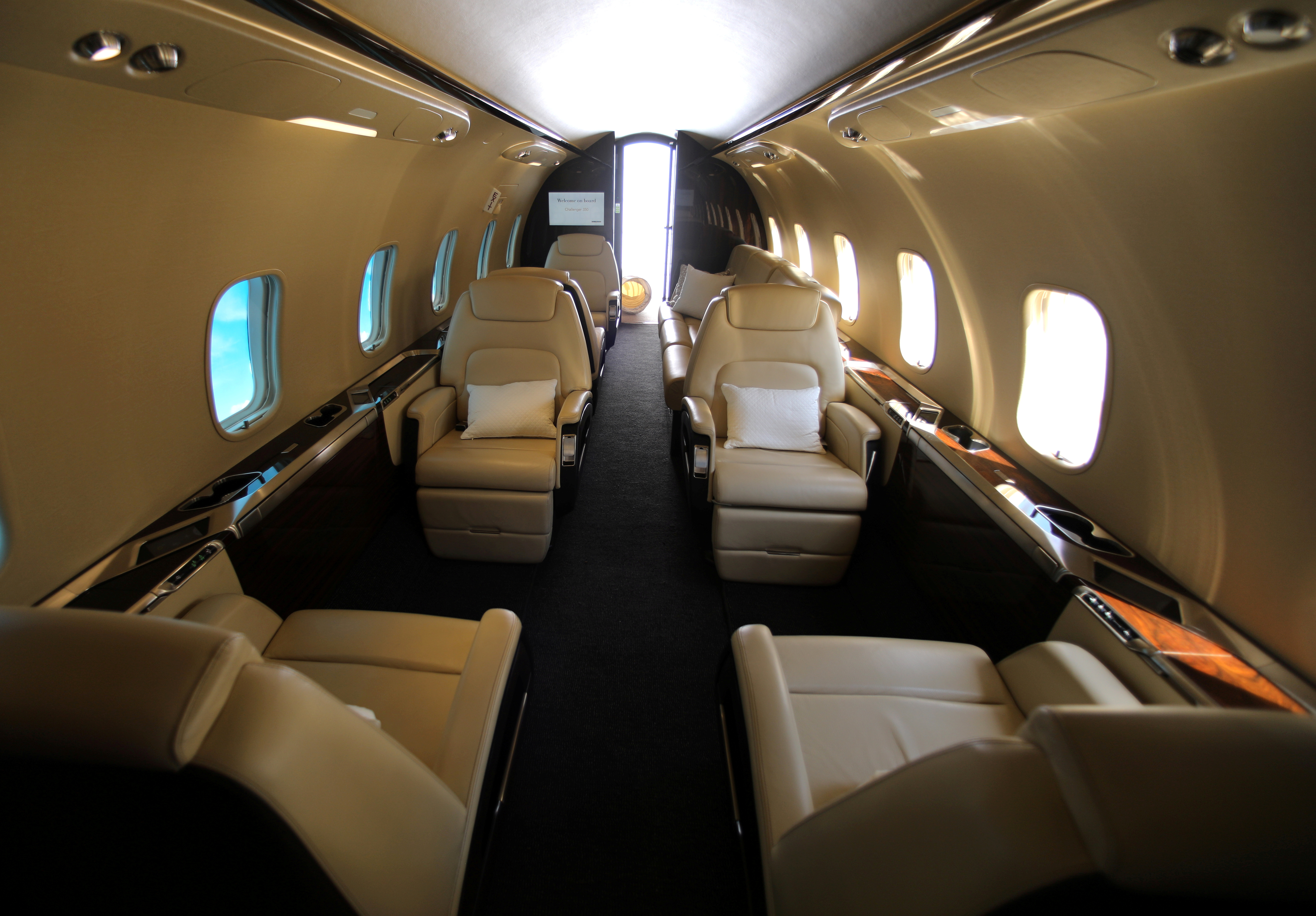 The inside of a fuselage of a Bombardier 350 Challenger jet is seen on display for attendees to view at the Milken Institute Global Conference in Beverly Hills, California, U.S., May 2, 2017. REUTERS/Mike Blake