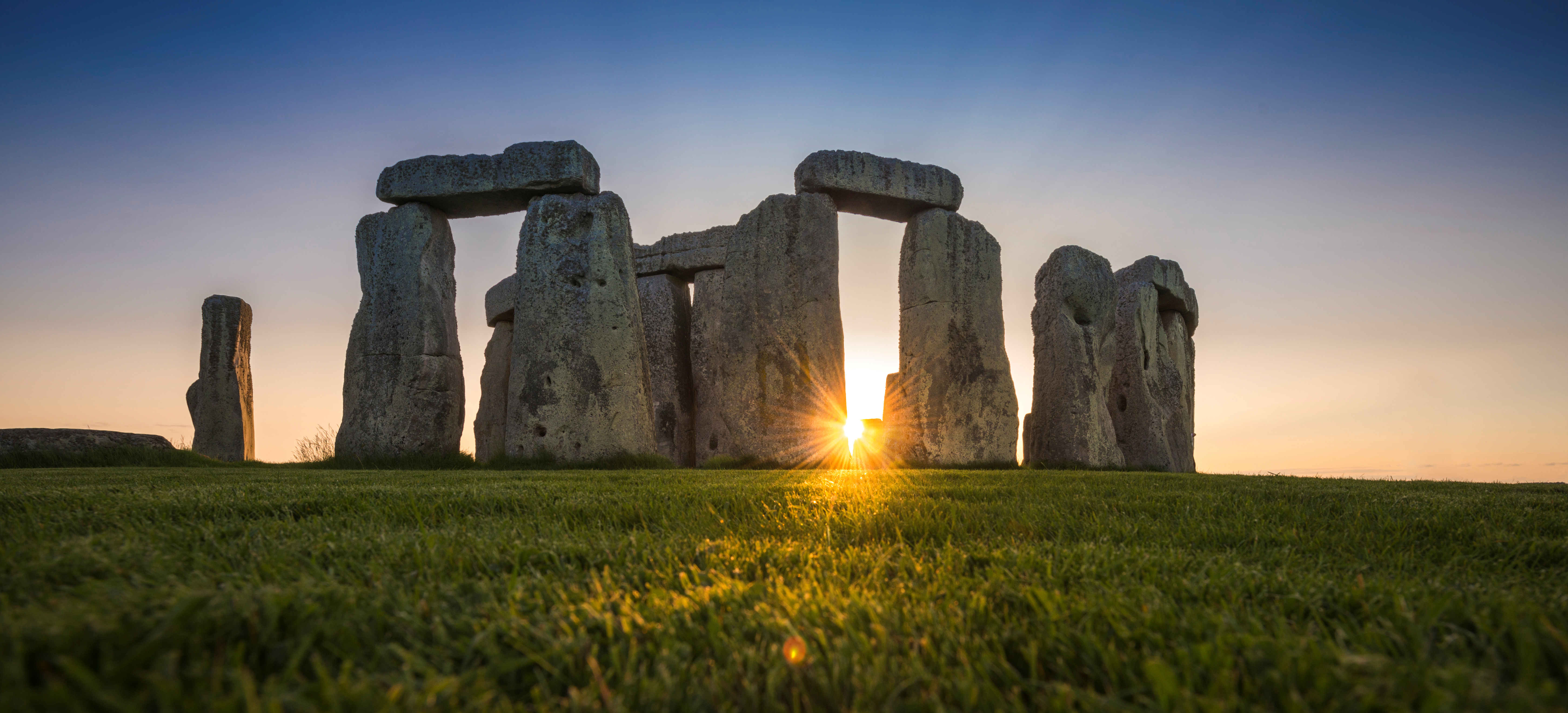 General view of the Stonehenge stone circle during the sunset, near Amesbury, Britain, as seen in this undated image provided to Reuters on July 29, 2020. English Heritage/A.Pattenden/Handout via REUTERS