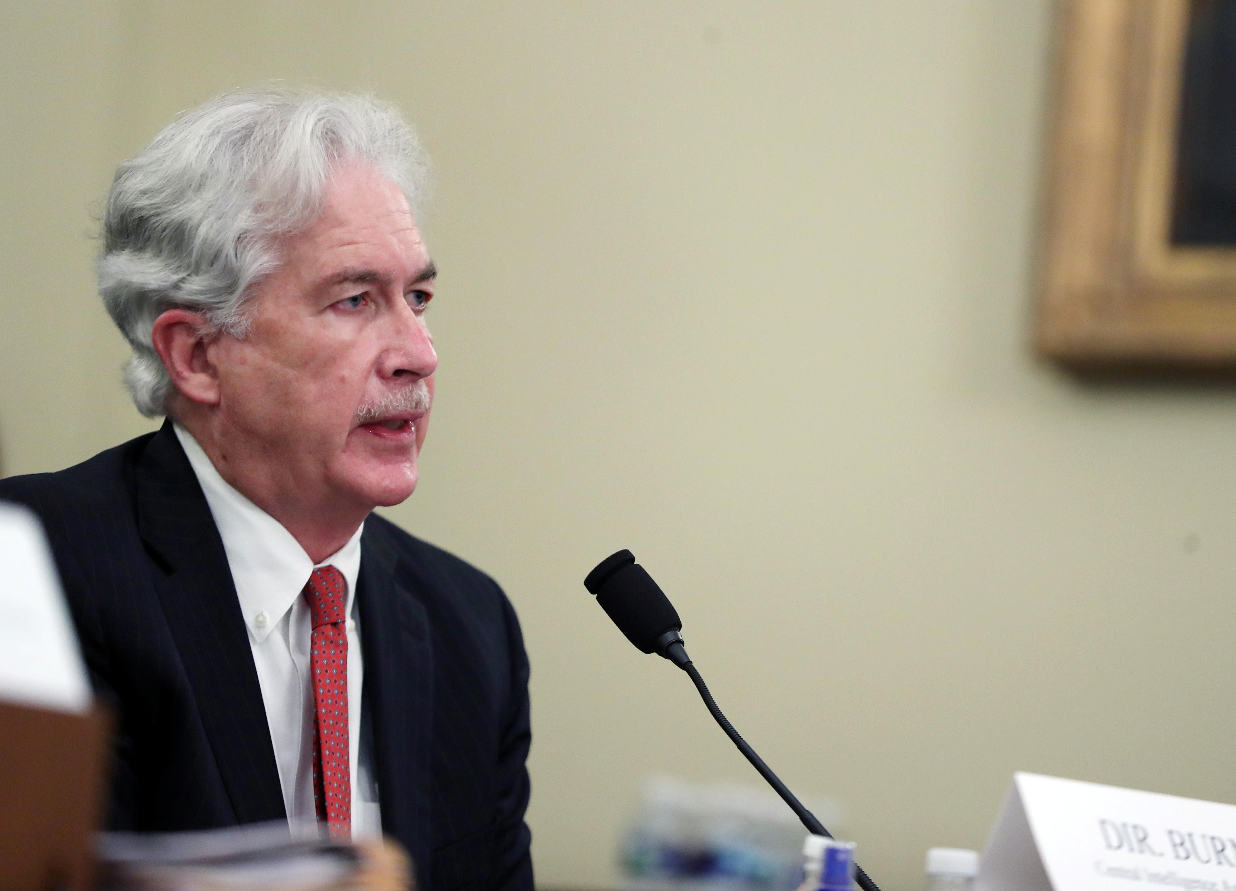 CIA Director William Burns speaks during a House Intelligence Committee hearing on worldwide threats, in Washington, D.C., U.S., April 15, 2021. Tasos Katopodis/Pool via REUTERS