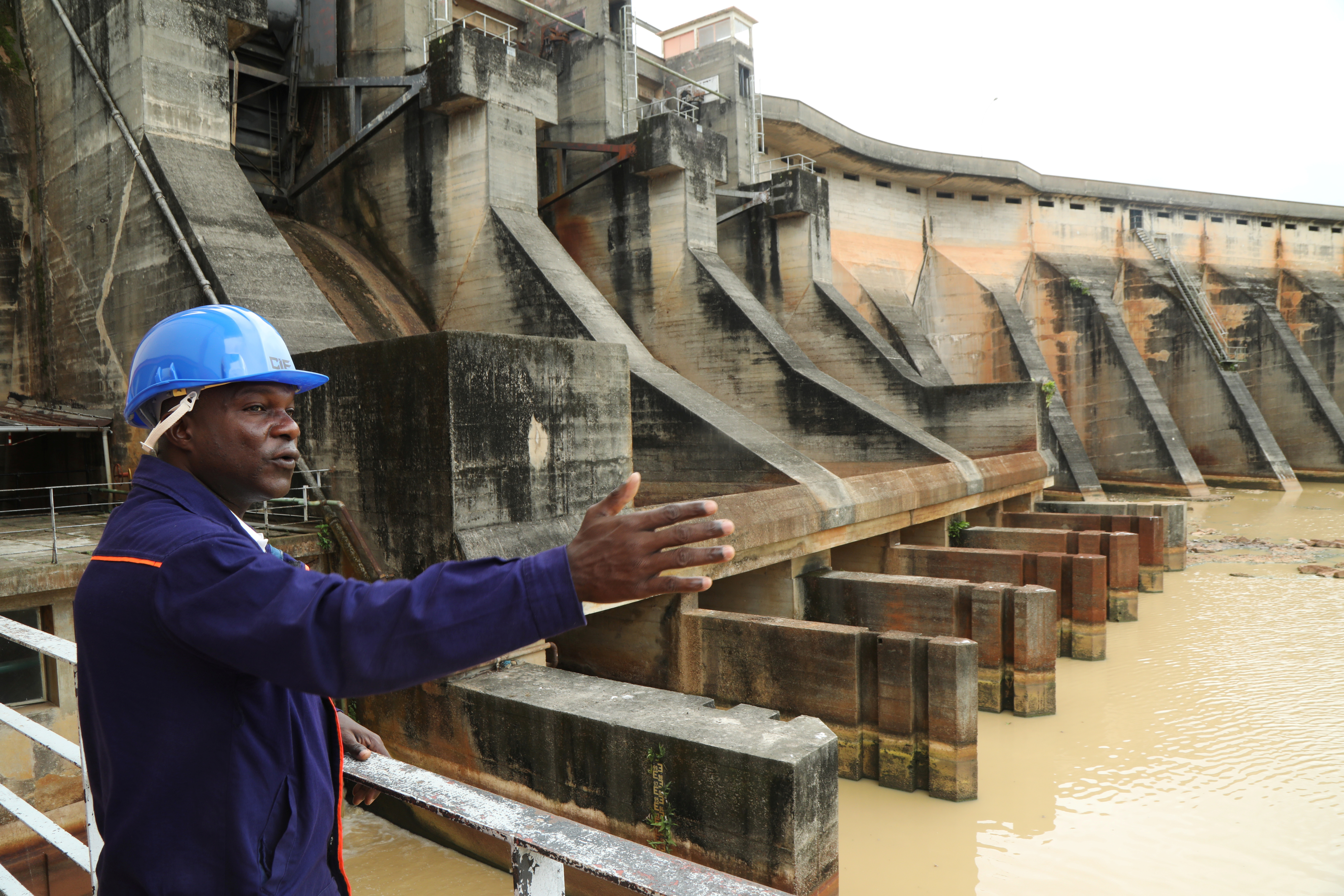 An employee of the Ivory Coast Electricity Company (CIE) works at a hydroelectric dam station in Ayame, Ivory Coast May 6, 2021. Picture taken May 6, 2021. REUTERS/Luc Gnago