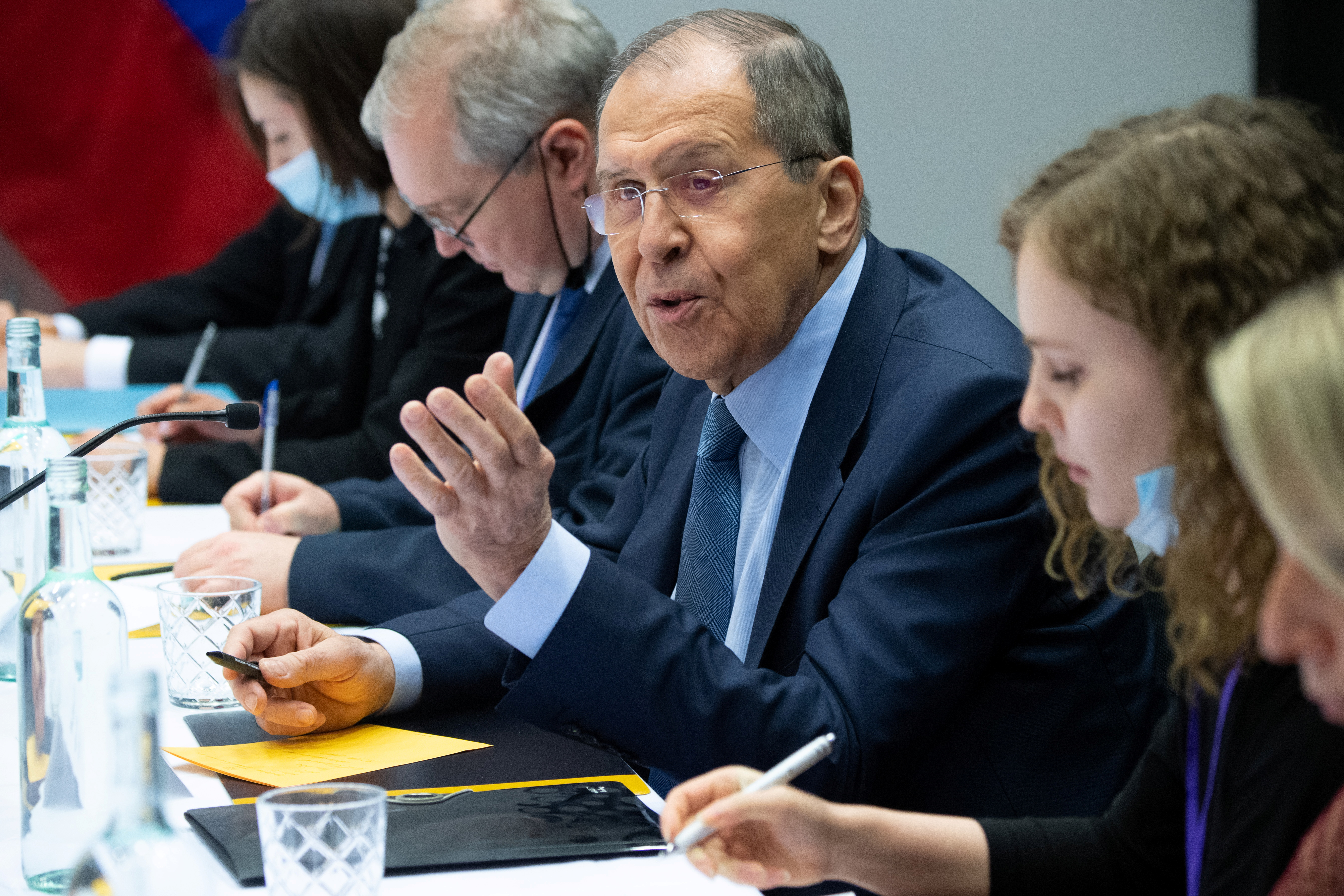 Russian Foreign Minister Sergey Lavrov speaks during a meeting with U.S. Secretary of State Antony Blinken at the Harpa Concert Hall, on the sidelines of the Arctic Council Ministerial summit, in Reykjavik, Iceland, May 19, 2021. Saul Loeb/Pool via REUTERS
