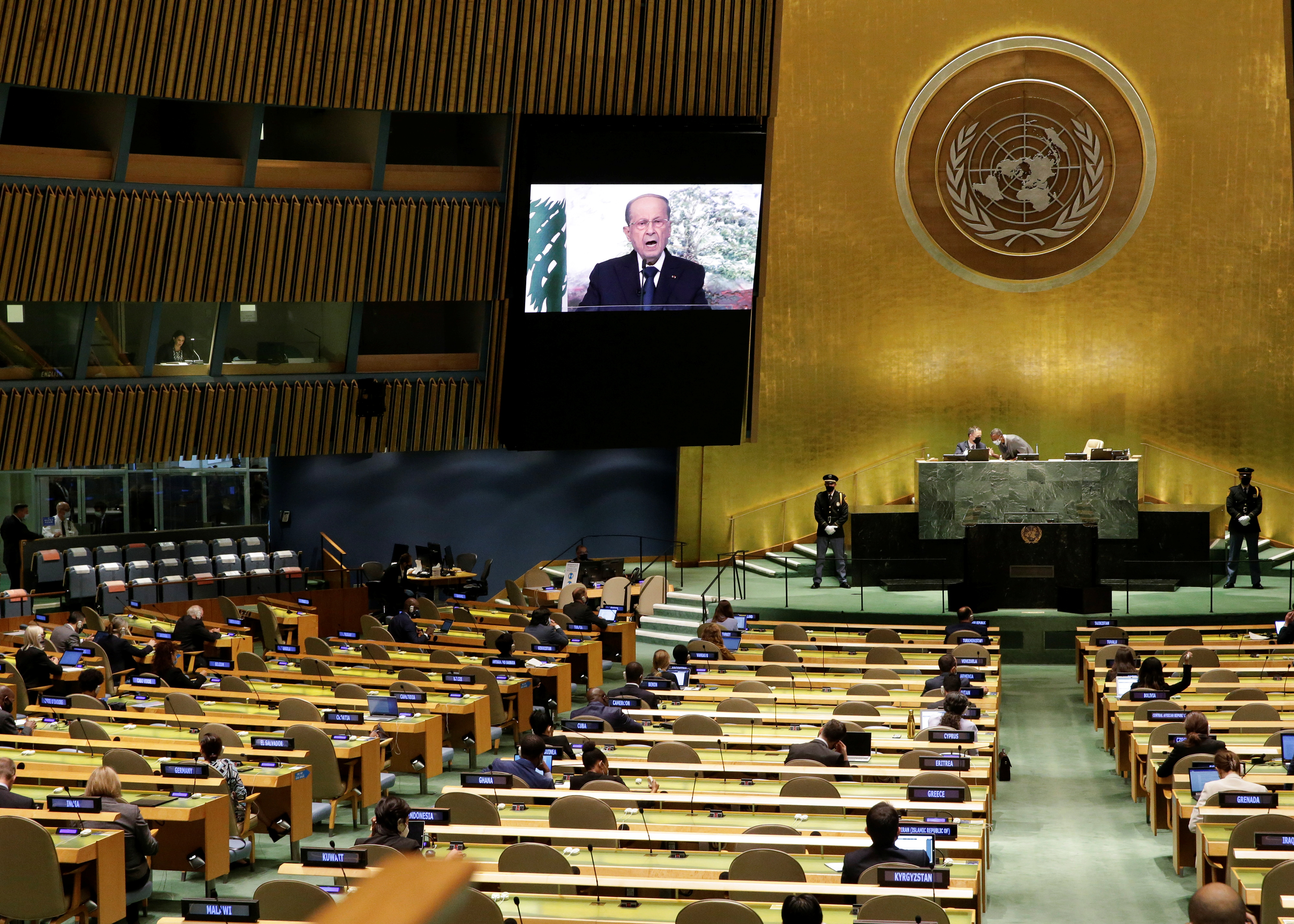Lebanon's President Michel Aoun delivers a pre-recorded speech at the UN General Assembly 76th session General Debate in UN General Assembly Hall at the United Nations Headquarters in New York City, New York, U.S., September 24, 2021. John Angelillo/Pool via REUTERS
