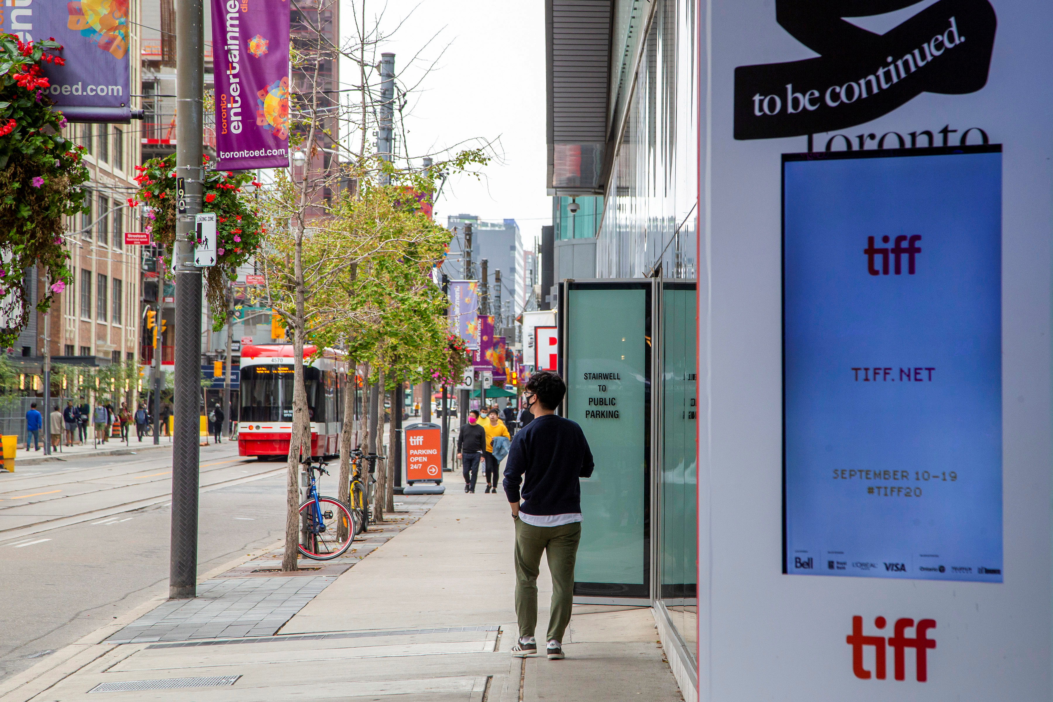 King Street West is seen nearly empty a day before the Toronto Film Festival  in Toronto, Ontario, Canada September 9, 2020. REUTERS/Carlos Osorio