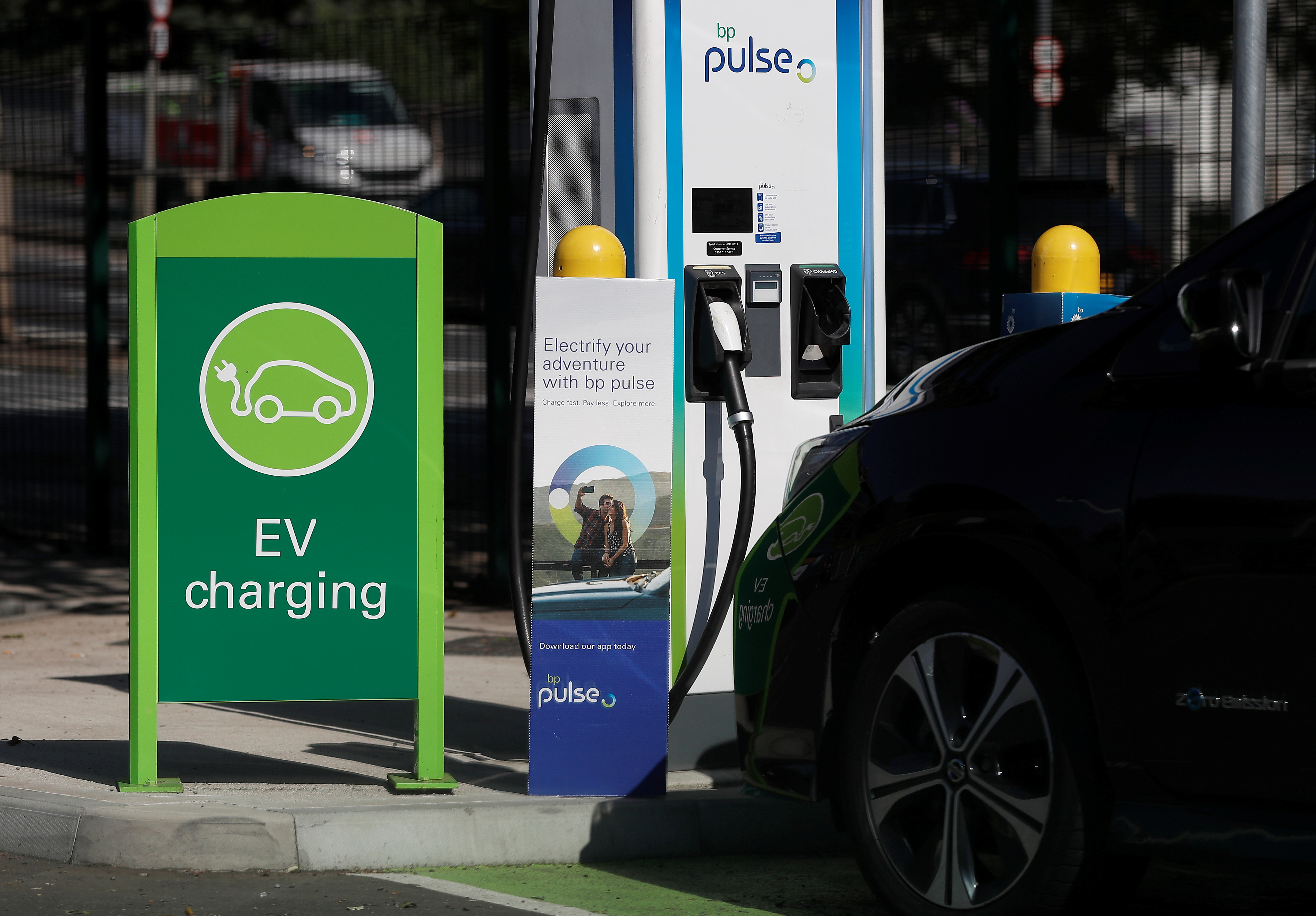 A BP Pulse electric vehicle charging point is seen in London, Britain, July 16, 2021.  REUTERS/Peter Nicholls
