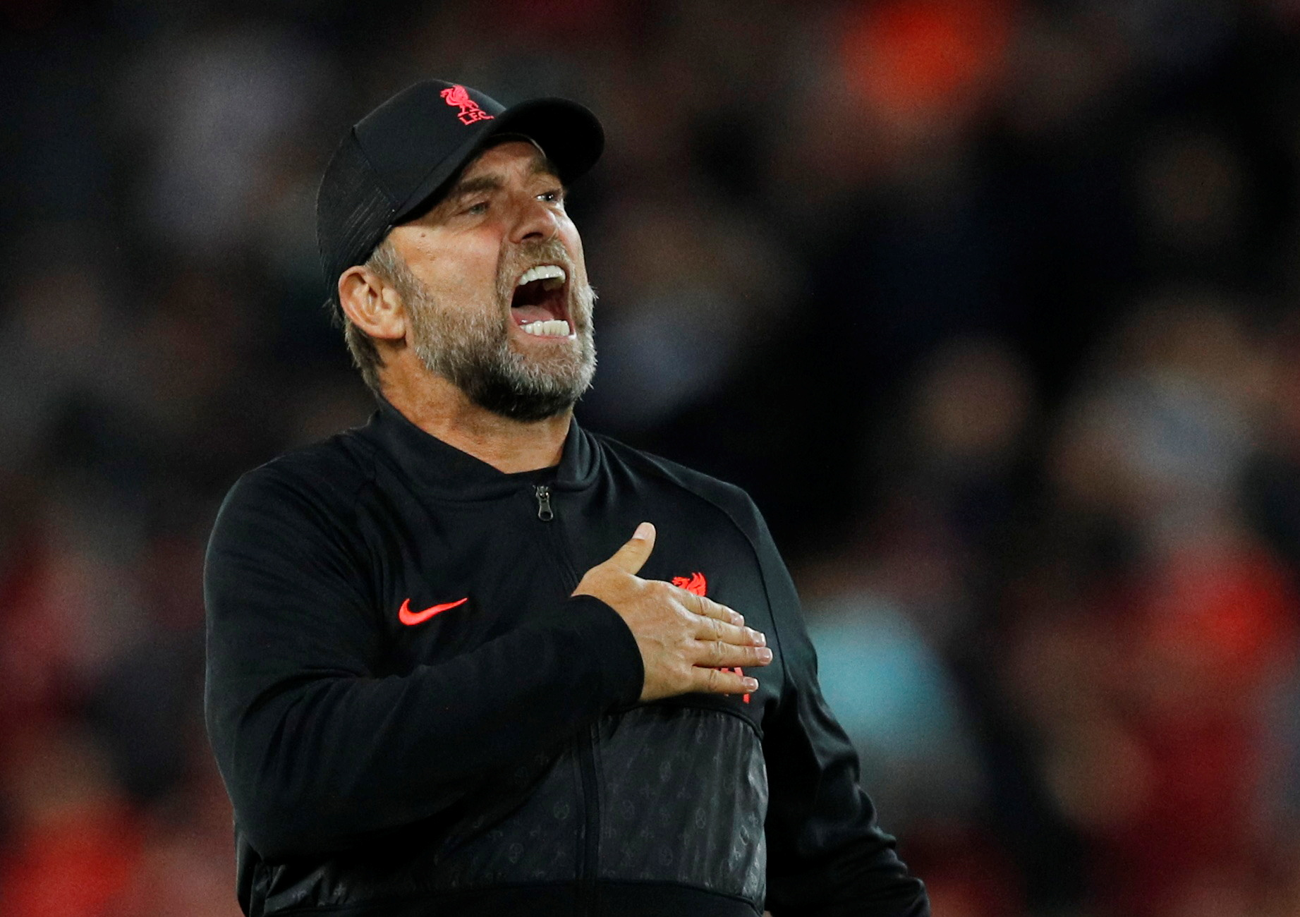 Soccer Football - Champions League - Group B - Liverpool v AC Milan - Anfield, Liverpool, Britain - September 15, 2021 Liverpool manager Juergen Klopp celebrates after the match REUTERS/Phil Noble/File Photo