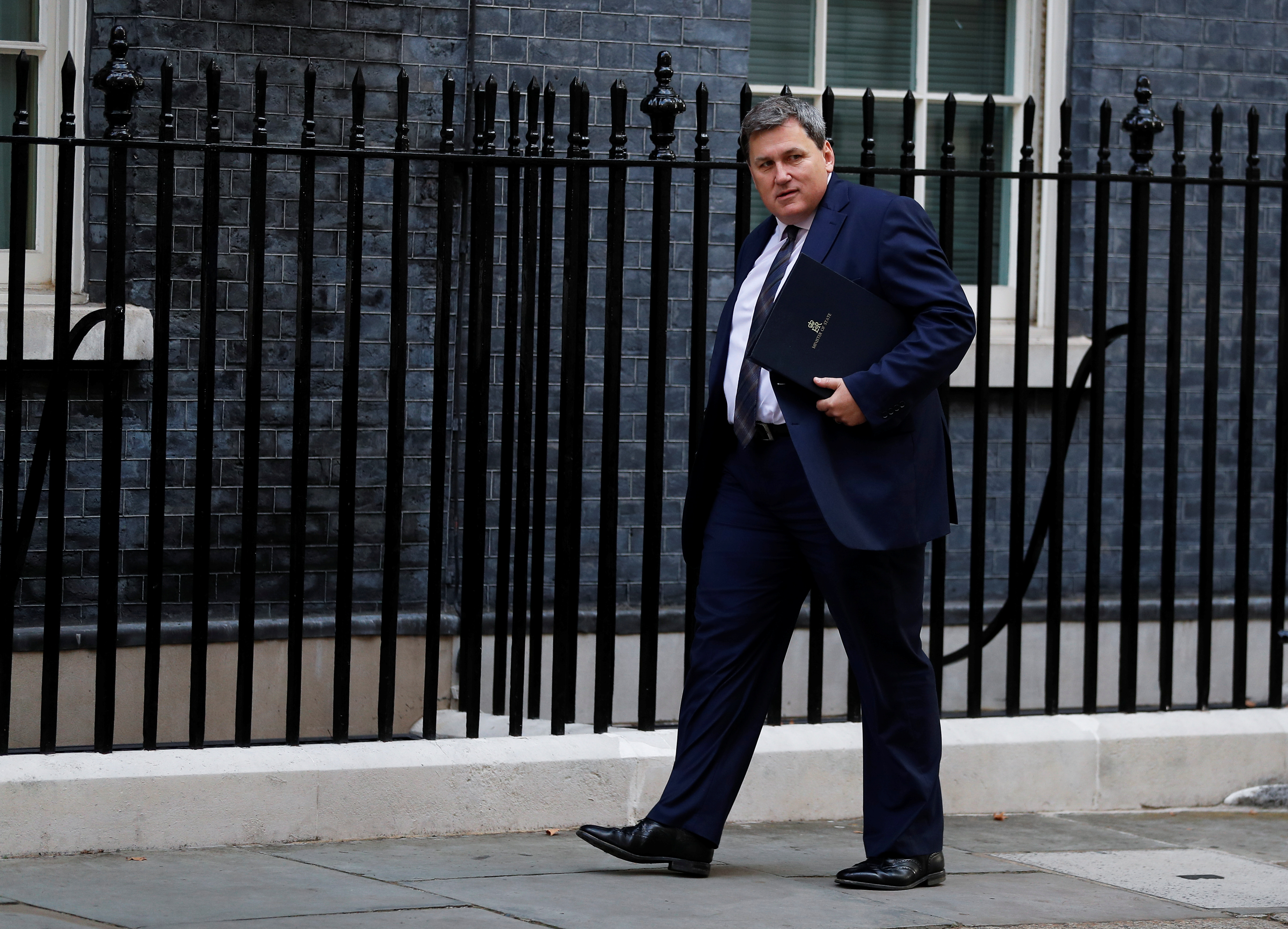 Britain's Minister of State at the Home Office Kit Malthouse arrives on Downing Street, in London, Britain September 17, 2021. REUTERS/Peter Nicholls