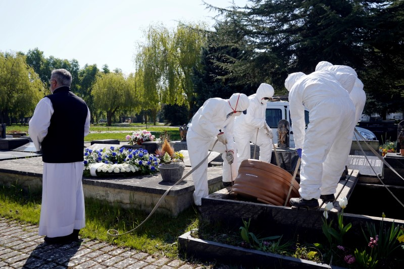 Father Marcos Rad officiates the funeral as municipal workers wearing protective gear lower the coffin of a victim of coronavirus disease (COVID-19) at El Salvador cemetery in Vitoria, Spain, March 27, 2020. REUTERS/Vincent West/File Photo