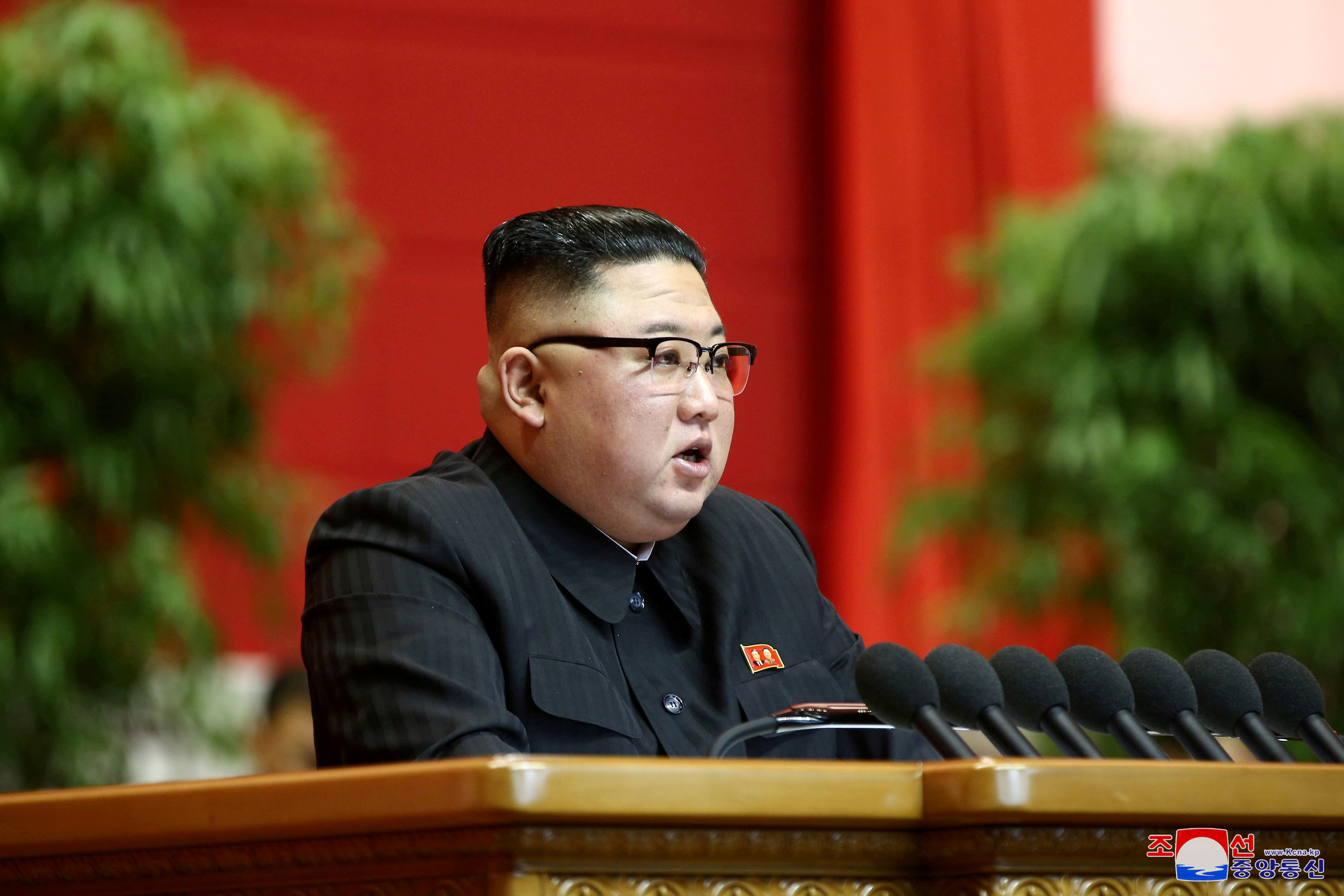 North Korean leader Kim Jong Un speaks during the 8th Congress of the Workers' Party in Pyongyang, North Korea, in this photo supplied by North Korea's Central News Agency (KCNA) on January 13, 2021. KCNA/via REUTERS